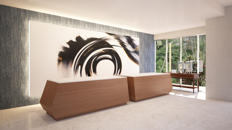 Lobby Check In Desk at Delta Hotel Daytona Shores, in Daytona Beach, FL, Designed by Design Poole, Inc in Winter Park Florida