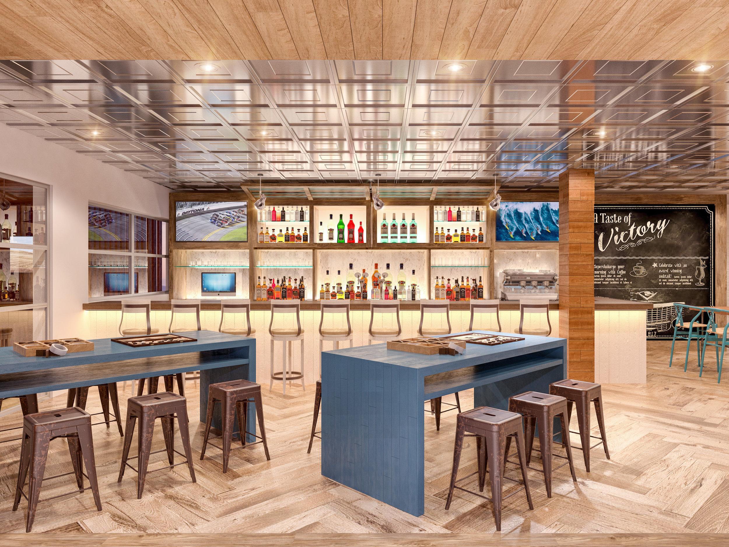 Night Bar Resturant at Delta Hotel Daytona Shores, in Daytona Beach, FL, Designed by Design Poole, Inc in Winter Park Florida