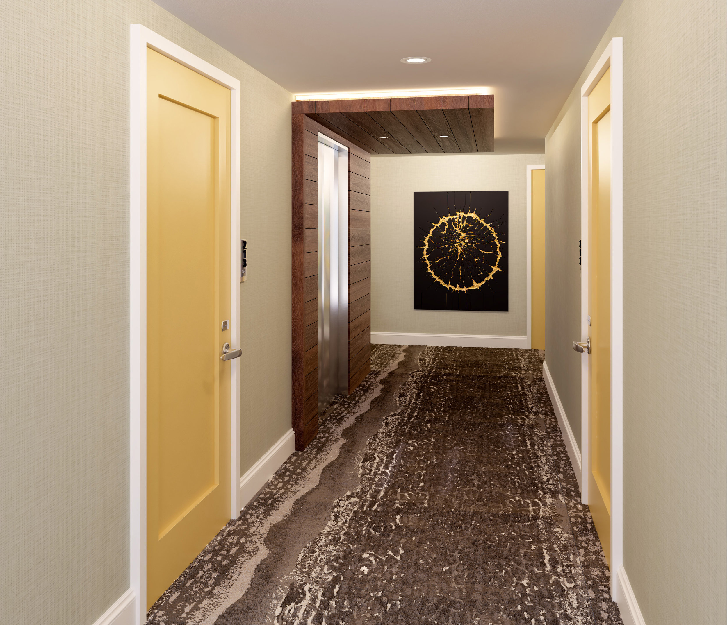 Corridor at Delta Hotel Daytona Shores, in Daytona Beach, FL, Designed by Design Poole, Inc in Winter Park Florida