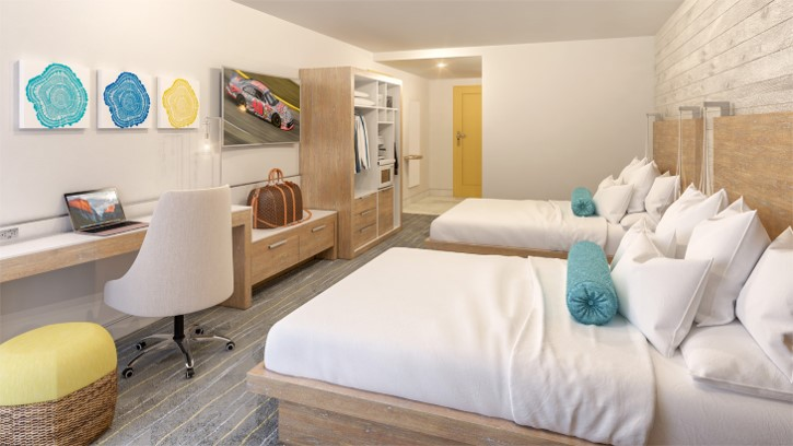 Double Guest Room at Delta Hotel Daytona Shores, in Daytona Beach, FL, Designed by Design Poole, Inc in Winter Park Florida