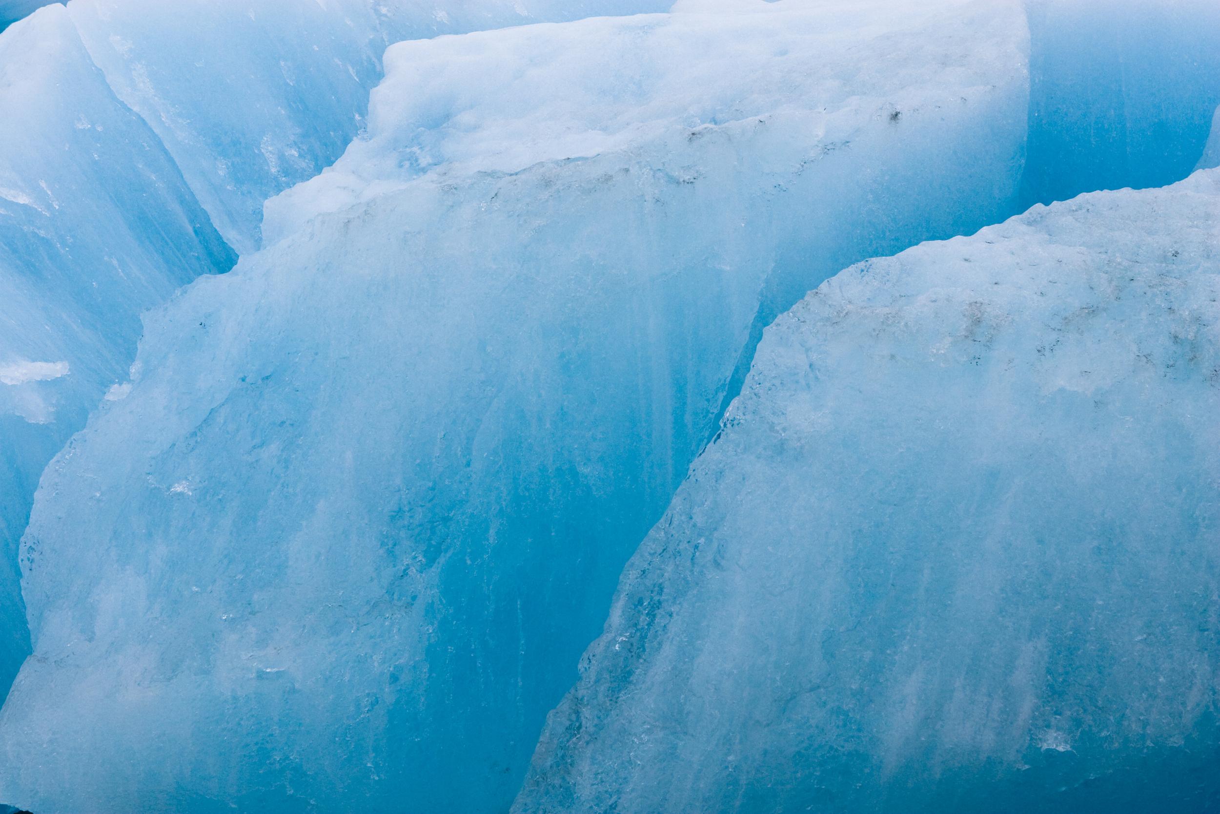 Glacial ice glowing blue. Margerie Glacier, Glacier Bay National Park, Alaska.