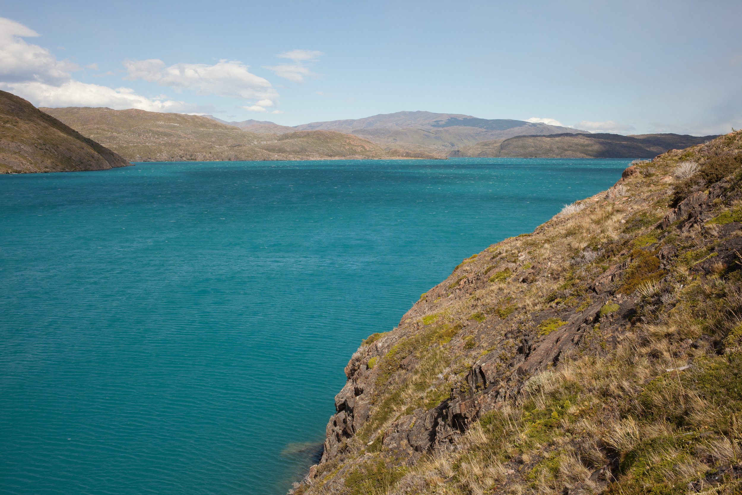 Pehoé Lake shivers with small waves caused by the fetch from the constant wind.    Peho  é   is a beautiful shade of blue and looks incredibly striking against the green hillsides surrounding the water.