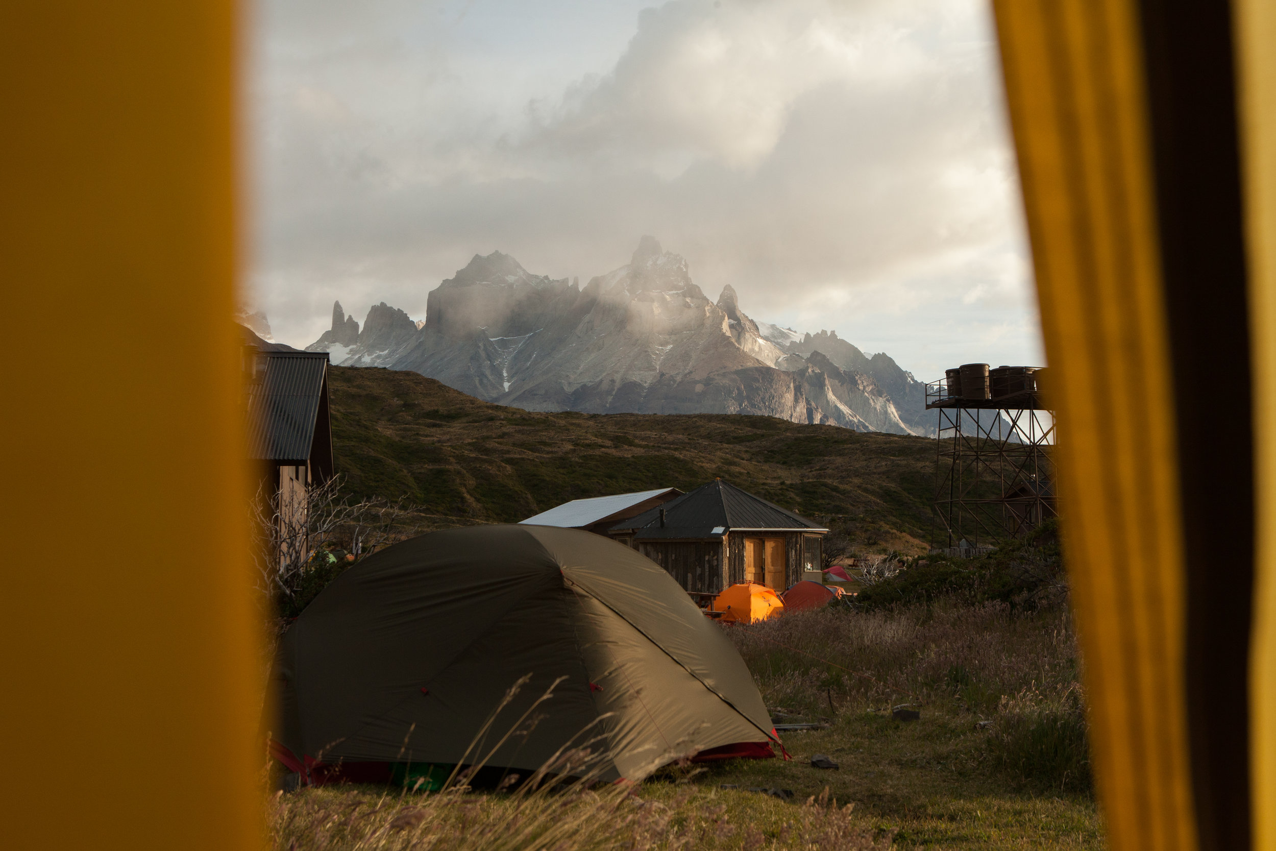 The view from my tent as the rain breaks.   Cuernos del Paine.