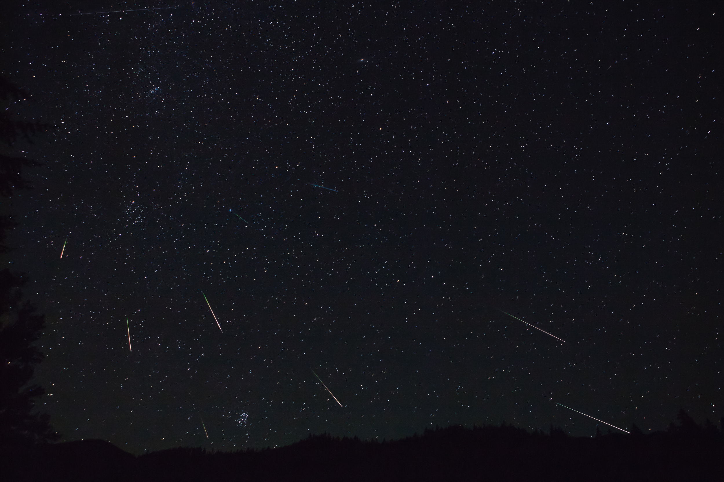 Perseid Meteor Shower.Okanogan-Wenatchee National Forest, Washington.    This picture is a photo composition of multiple images captured between Thursday, August 11 from 11:57pm - Friday, 12th 1:28am. The images have been oriented to reflect the initial composition of star alignment.