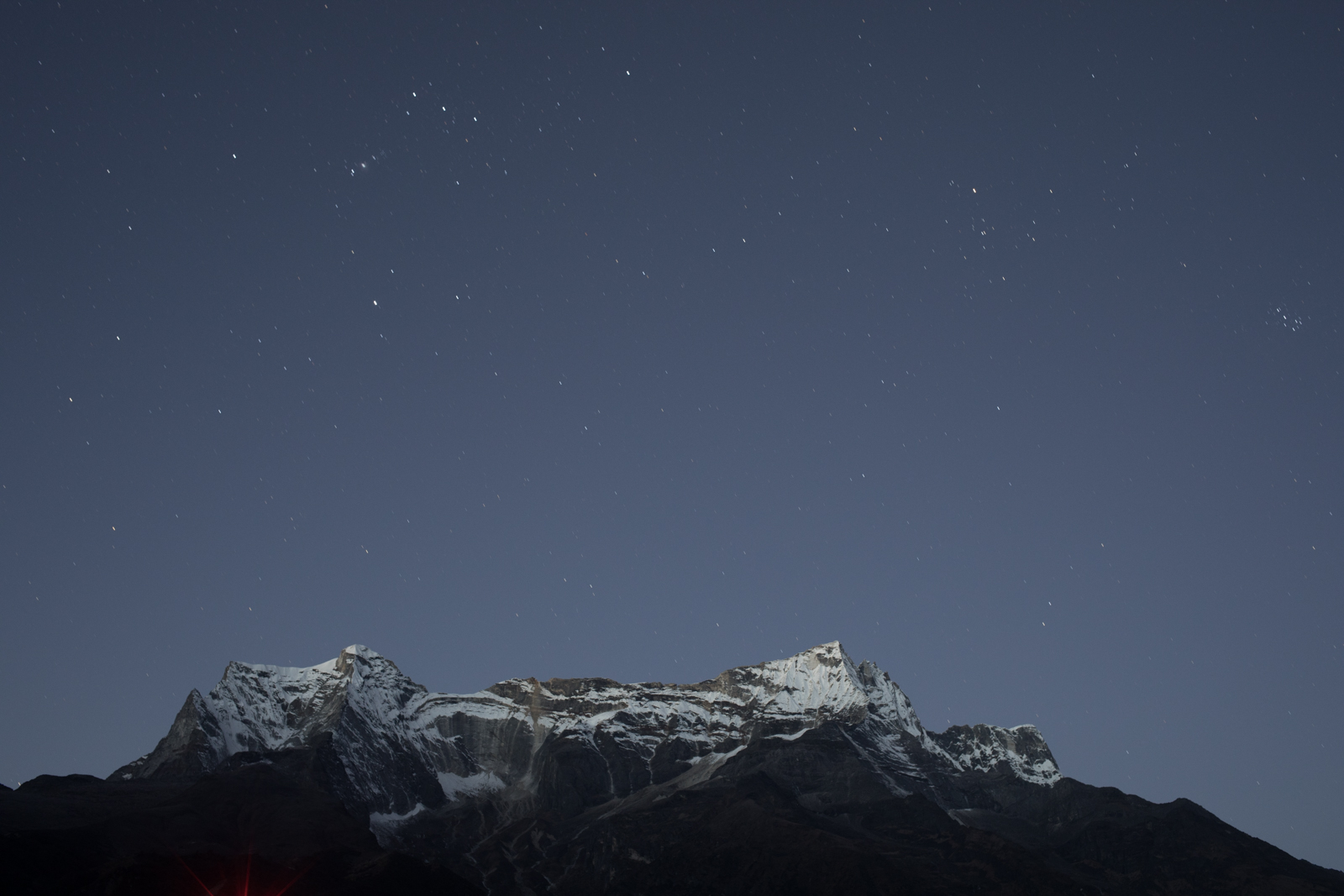 Stars over Kongde Lho 6,187 m / 20,299 ft, Nepal. (Elevation credit: PeakFinder)