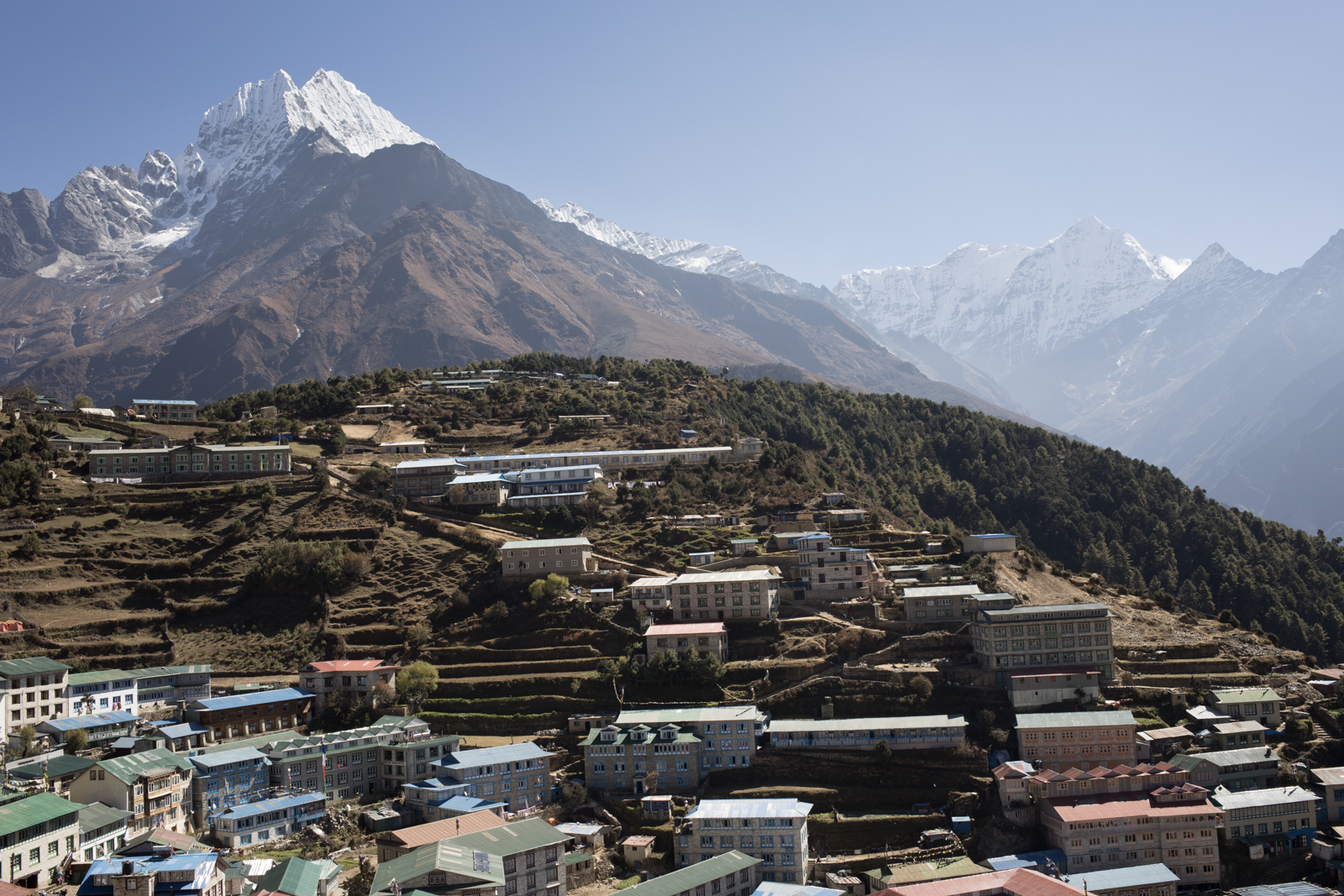 Thamserku 6,608 m and Kusum Khangkaru 6,367 m above Namche Baazar, Nepal. (Elevation credit: PeakFinder)