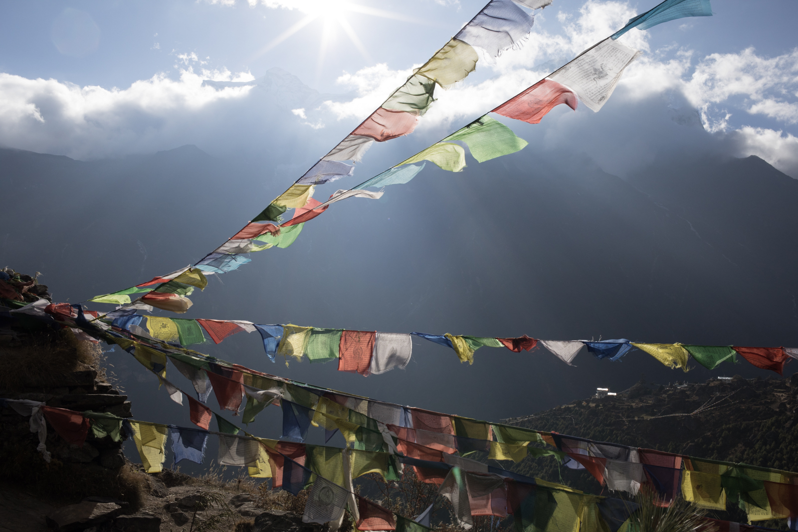 Prayer flags fly high on a ridge over Namche.