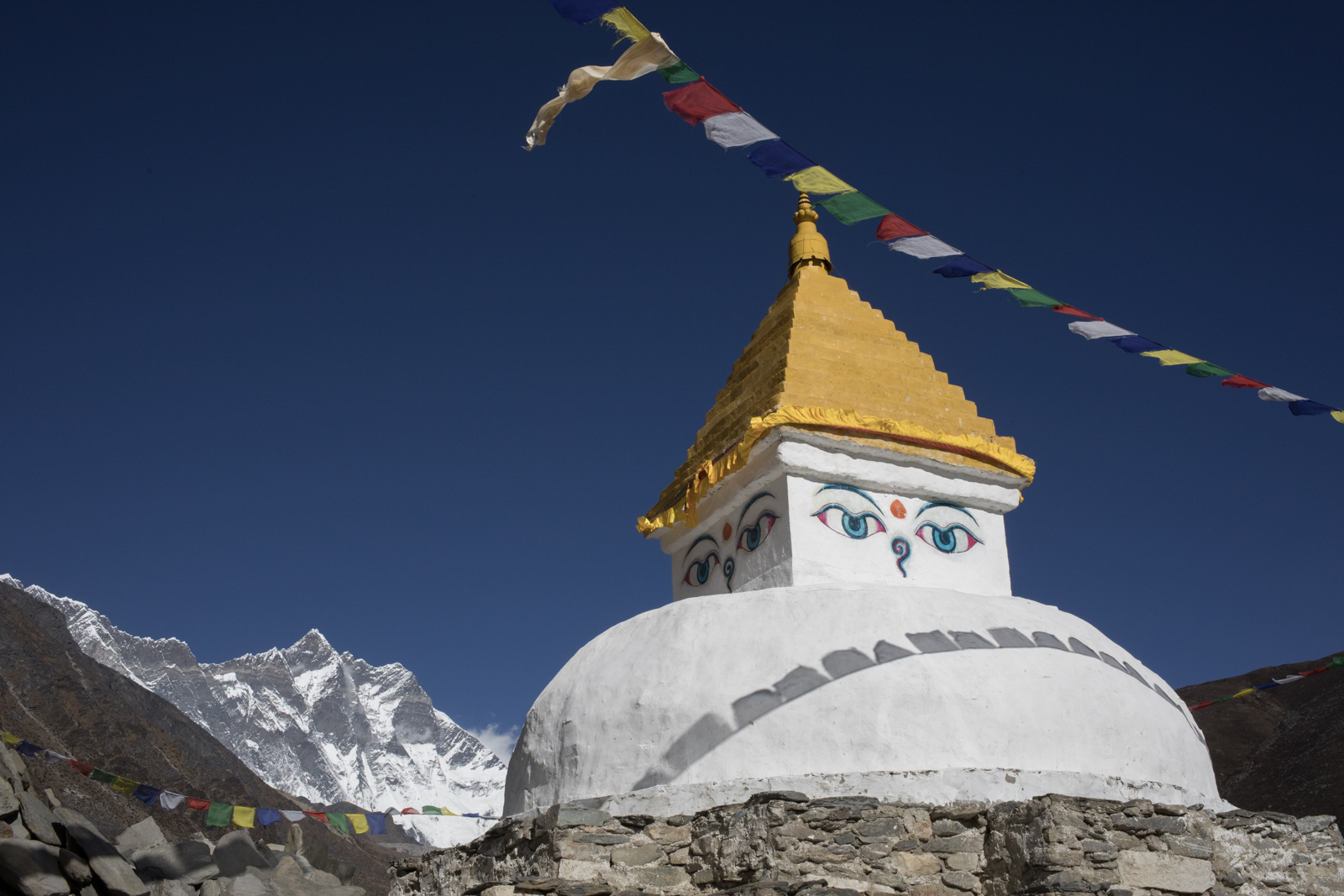 Stupa in Dingboche. The eyes of Buddha are painted in the four directions.  The eyes are all seeing and wise.