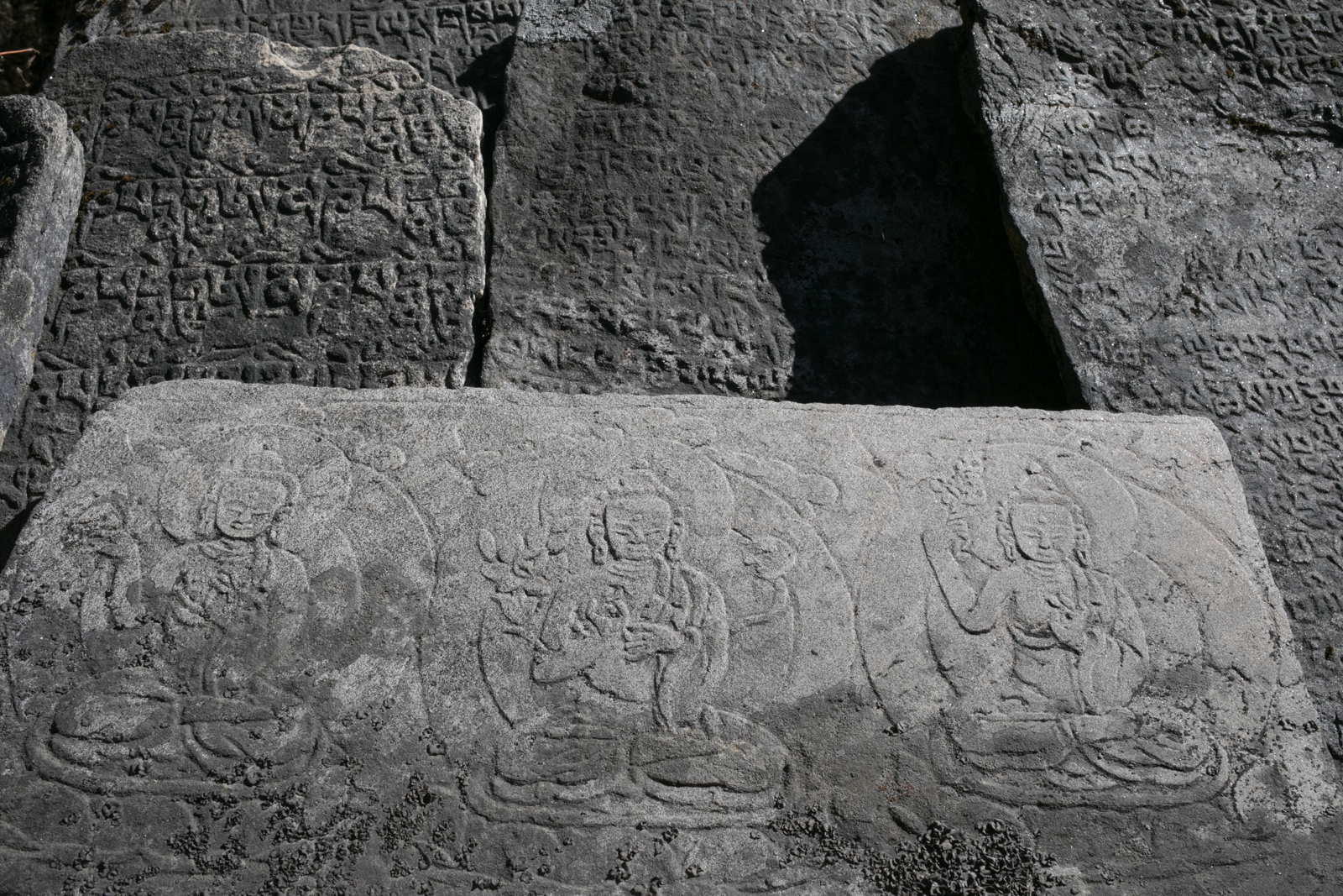 Stone carvings.  Mani stones.