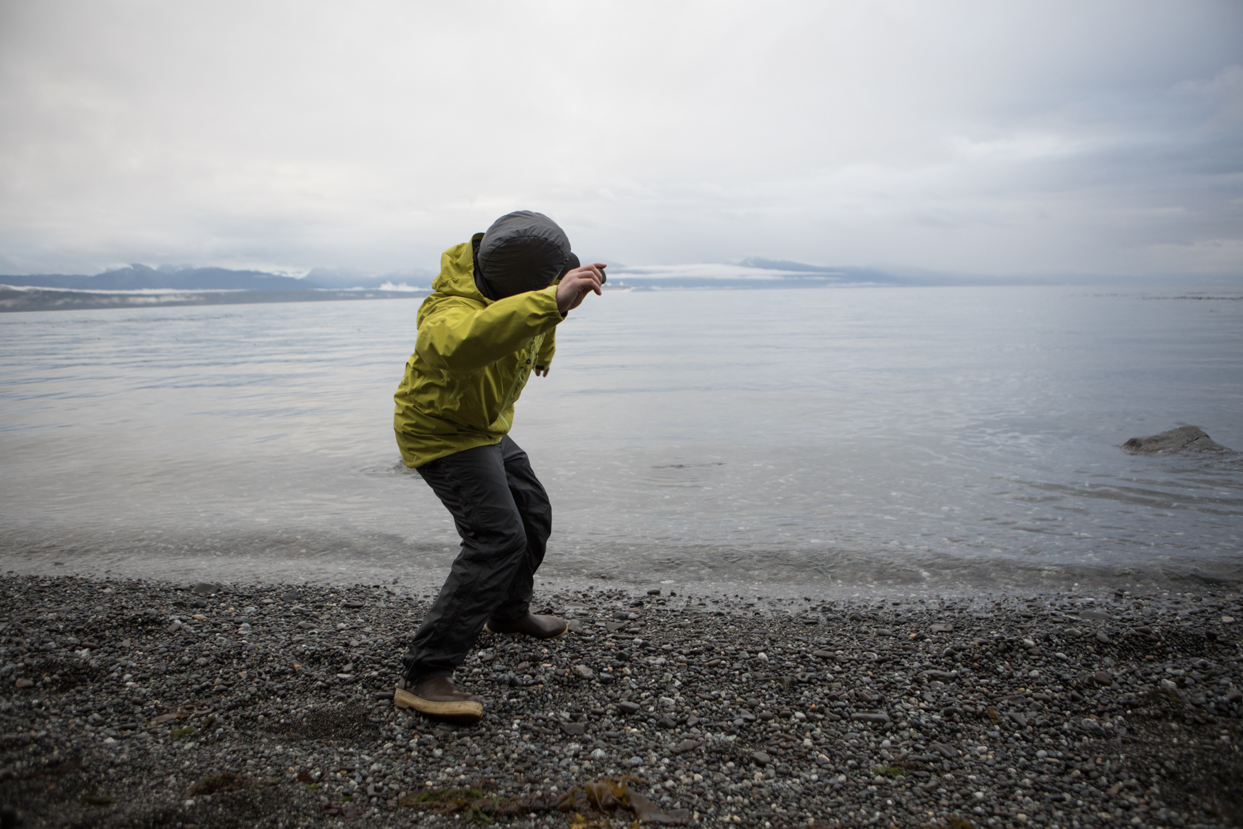 Aaron skipping stones.