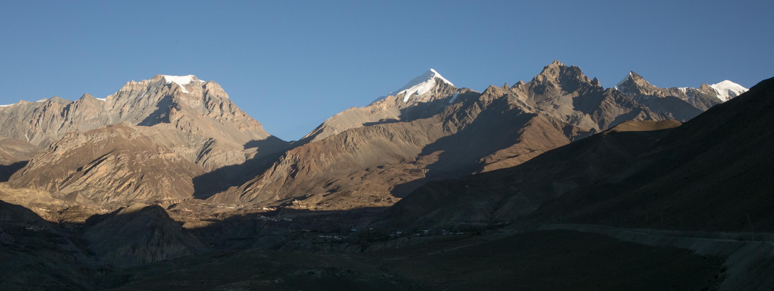 The peaks behind Muktinath