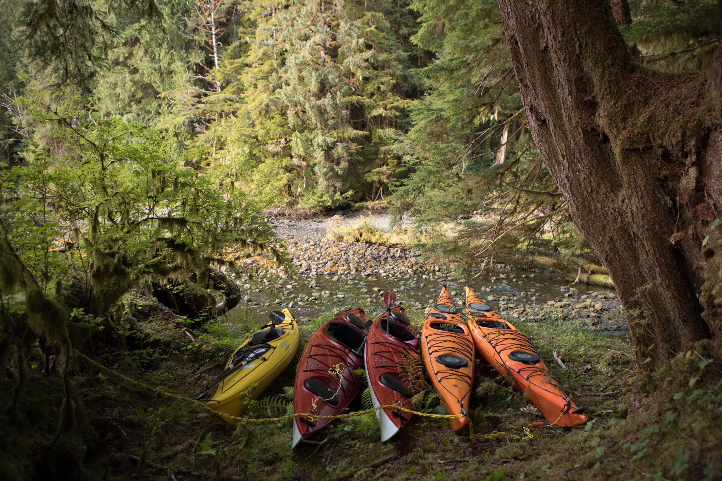 Securing kayaks at night.