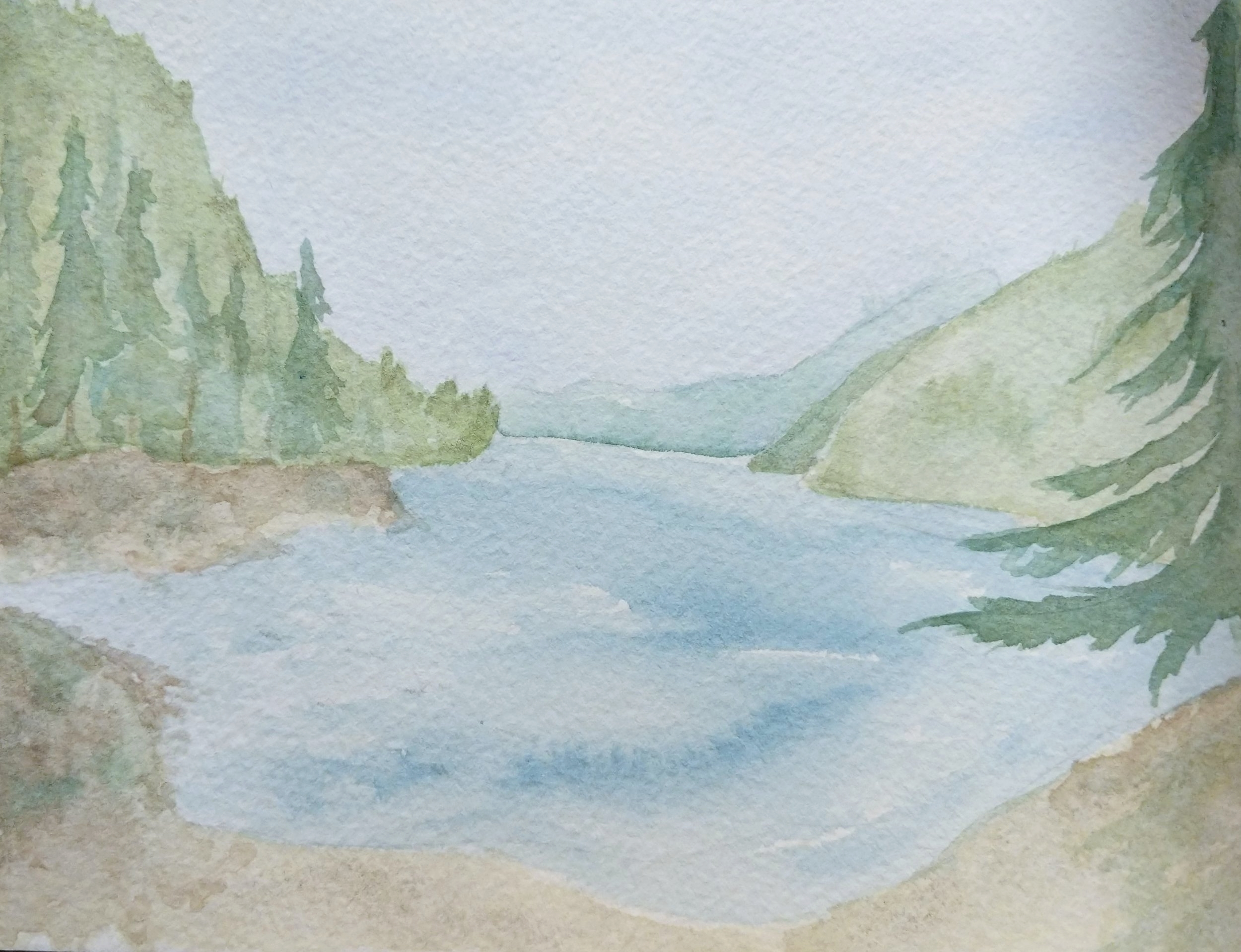 Watercolor painting sketch - Wolf Camp