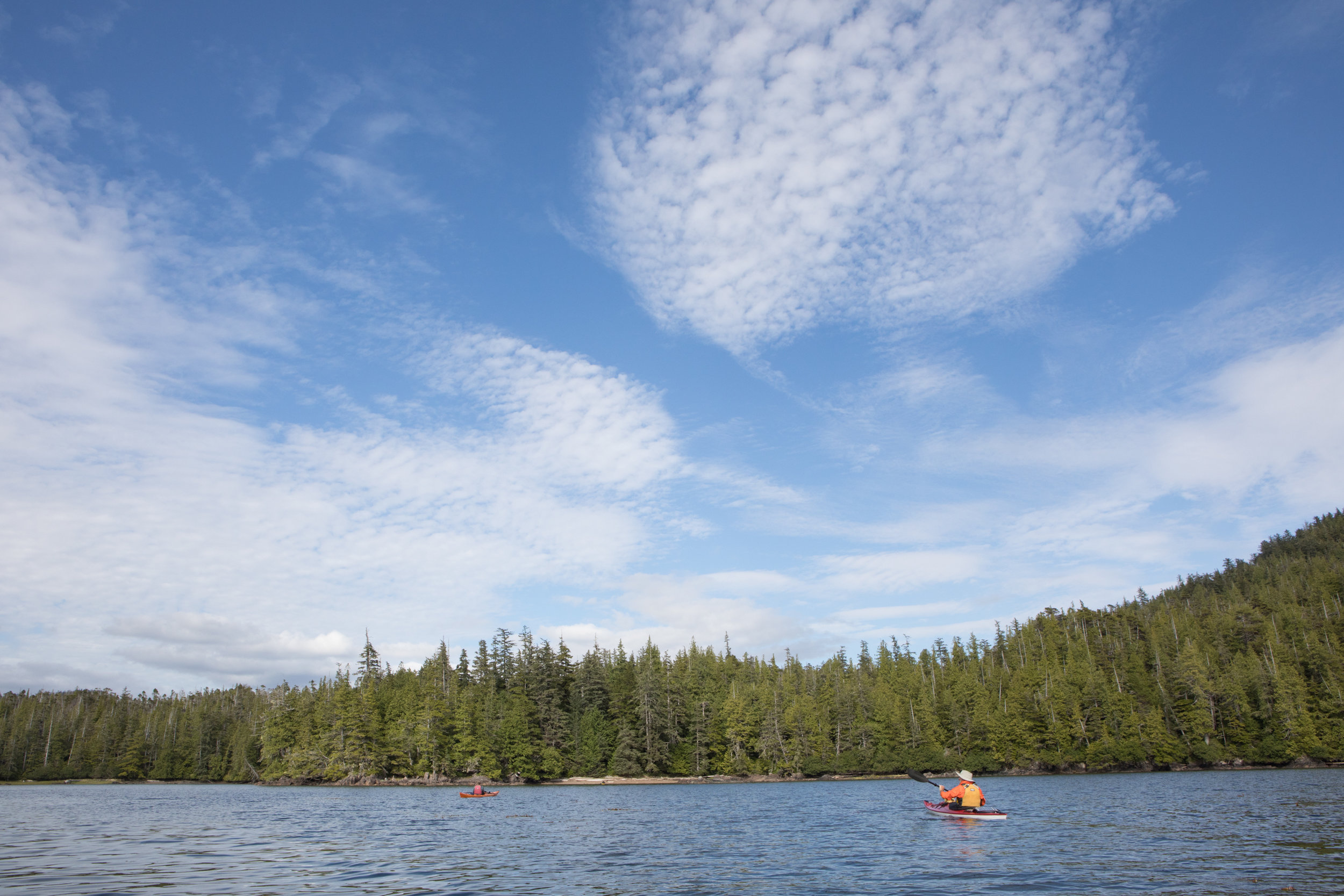 Paddling out of Klinkwan Cove. Altocumulus clouds.