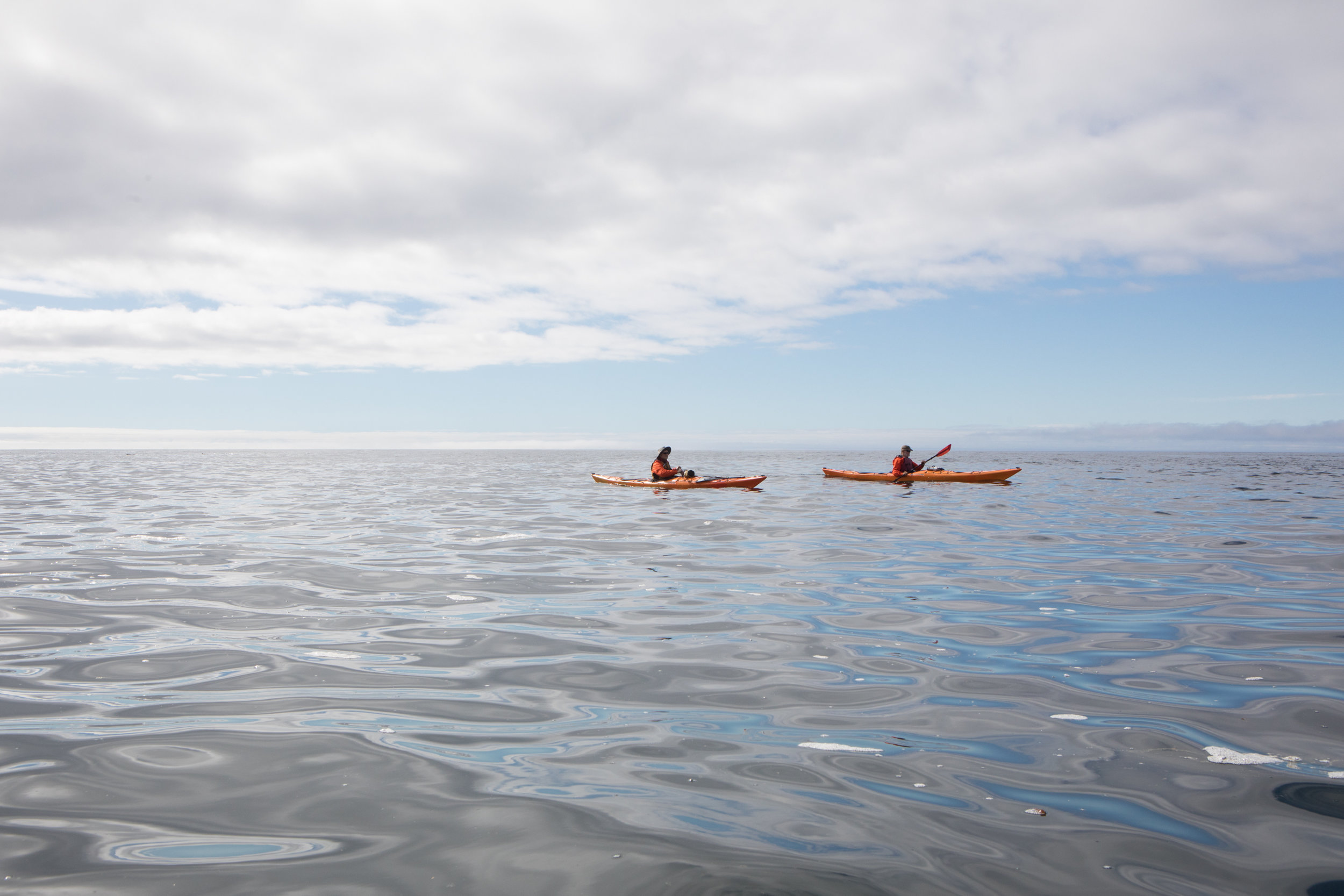 Nate and Wayne take advantage of the calm conditions to paddle out around Mexico Point. Open water stretches as far as the eye can see beyond Cordova Bay to Dixon Entrance.