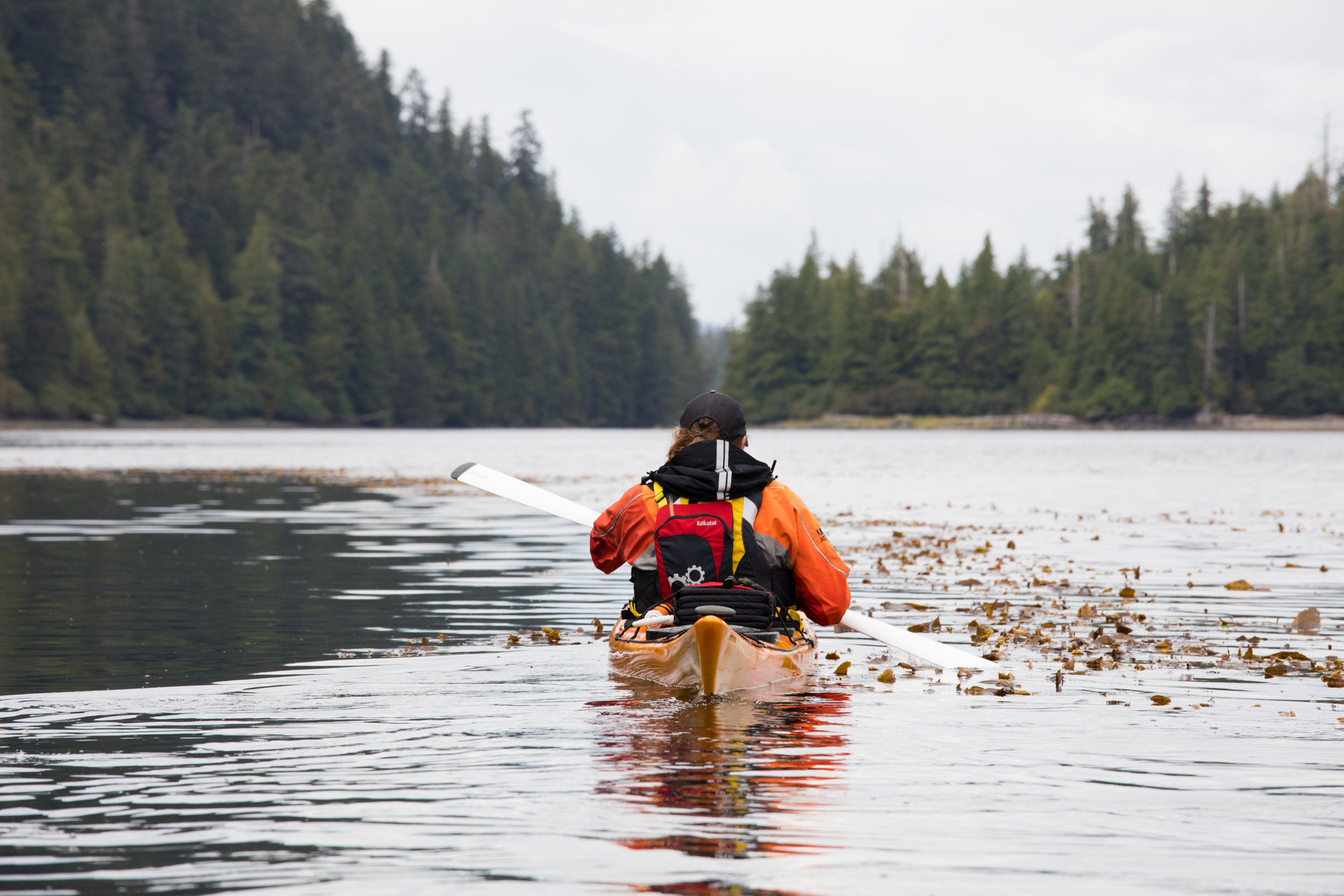 Aaron paddling towards the narrows between Sukkwan Island and Blanket Island.