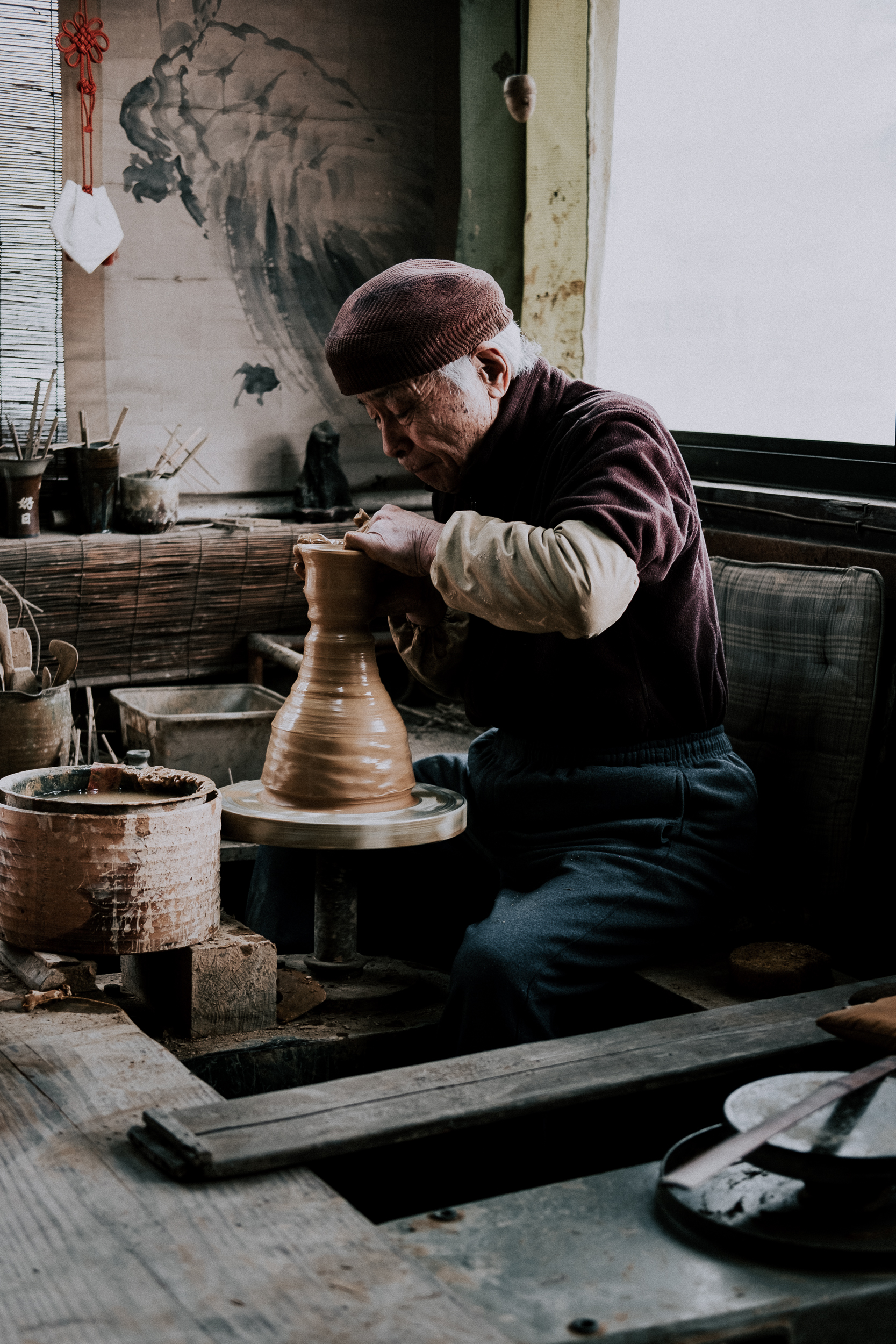 Takatori-san working in his shop.