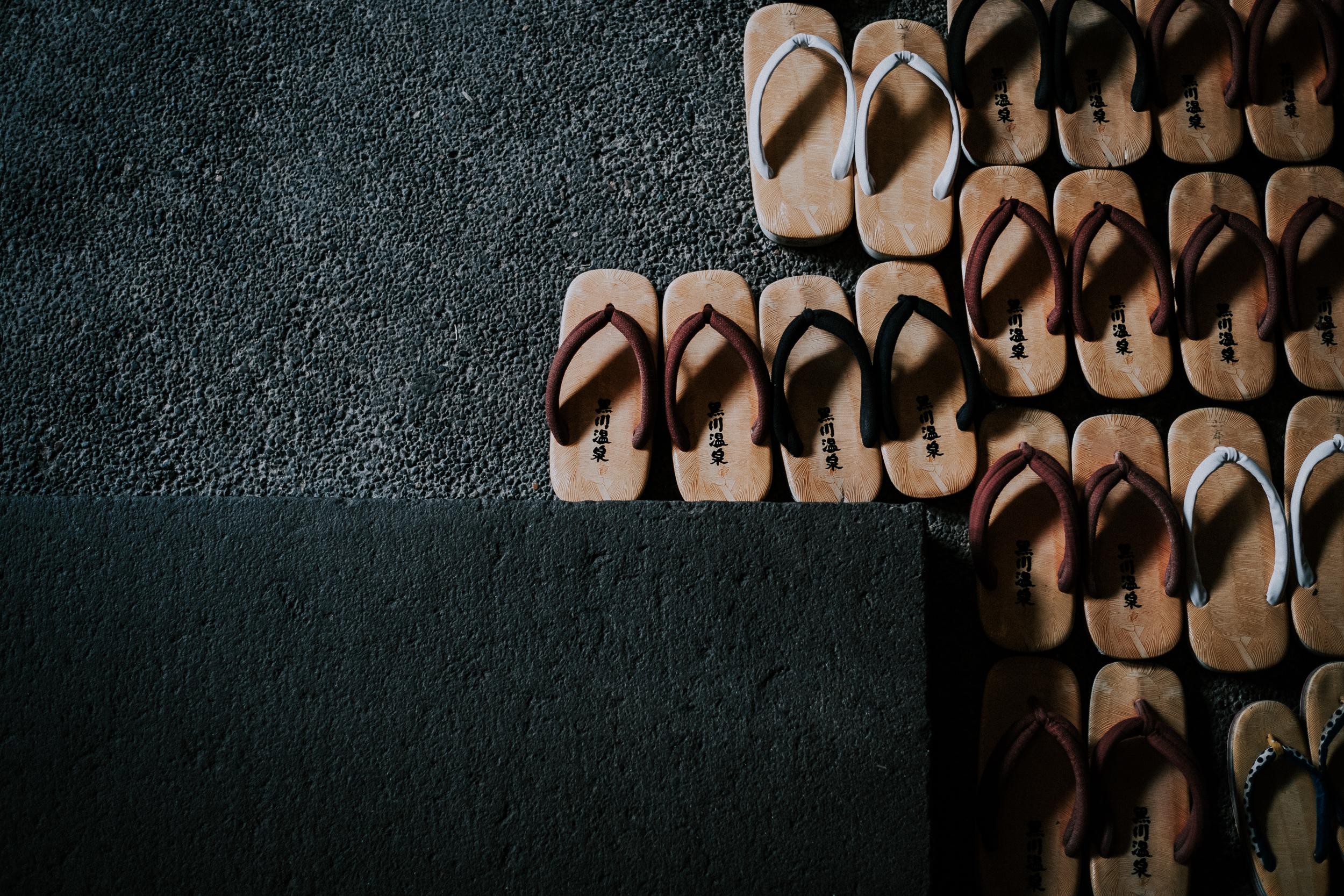 Onsen sandals lined up at Ryokan Sanga.