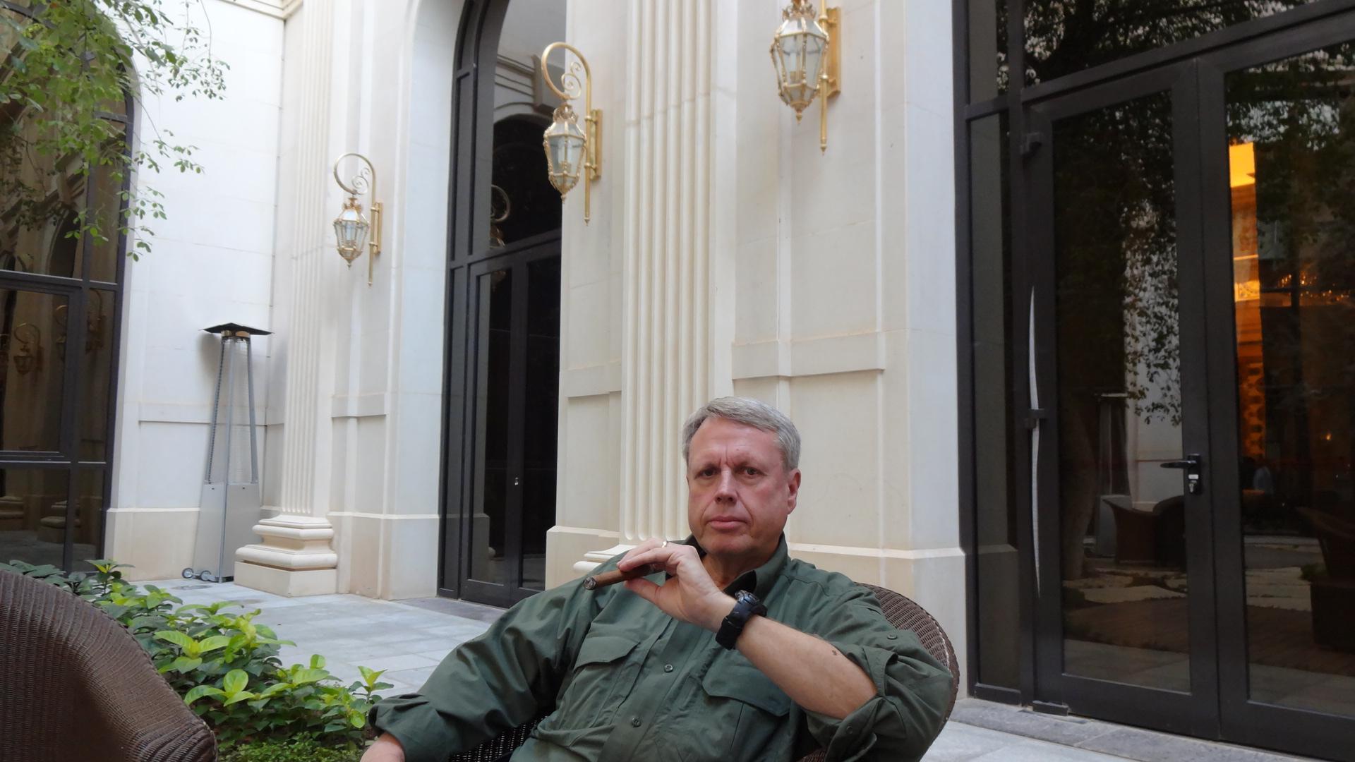 Smoking a Havana Montecristo at the Ritz