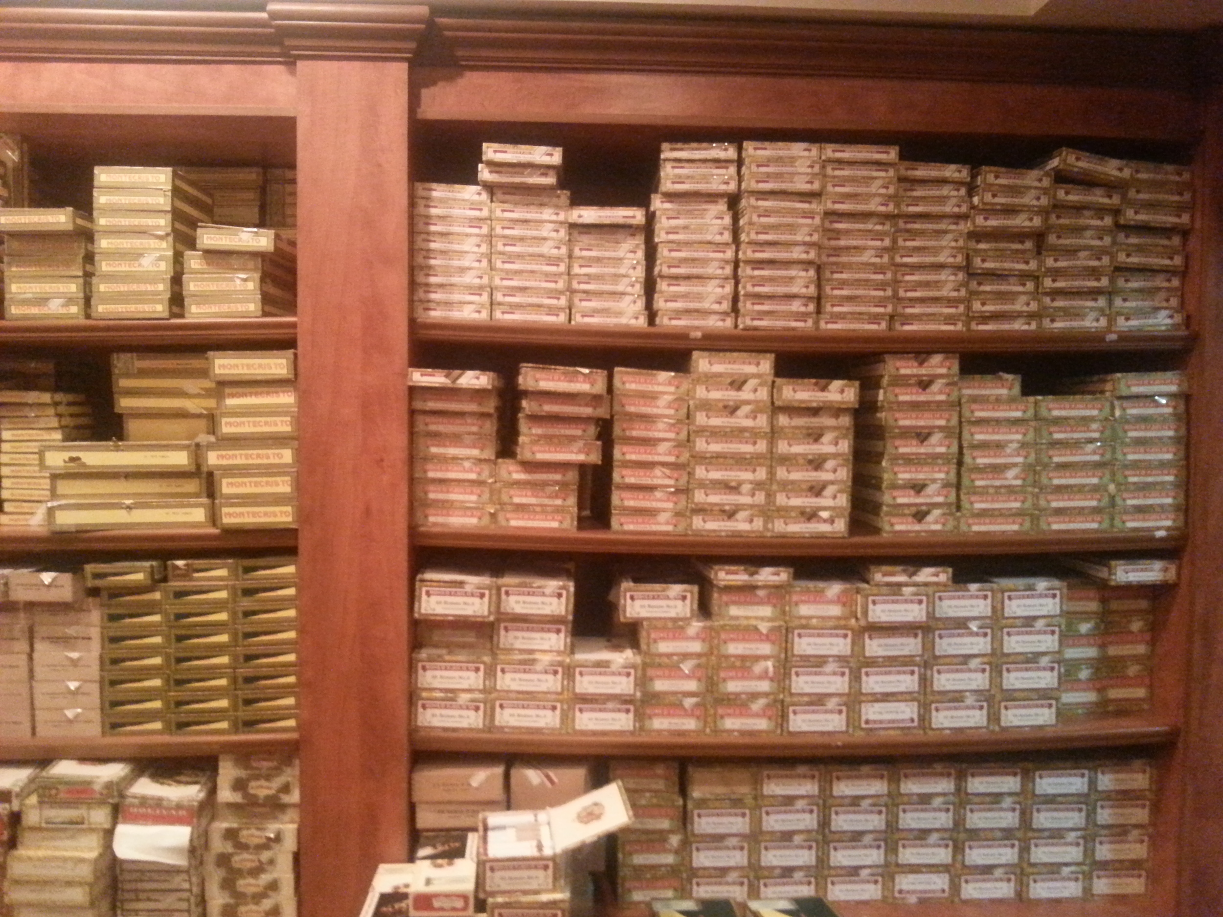 One wall of the humidor.
