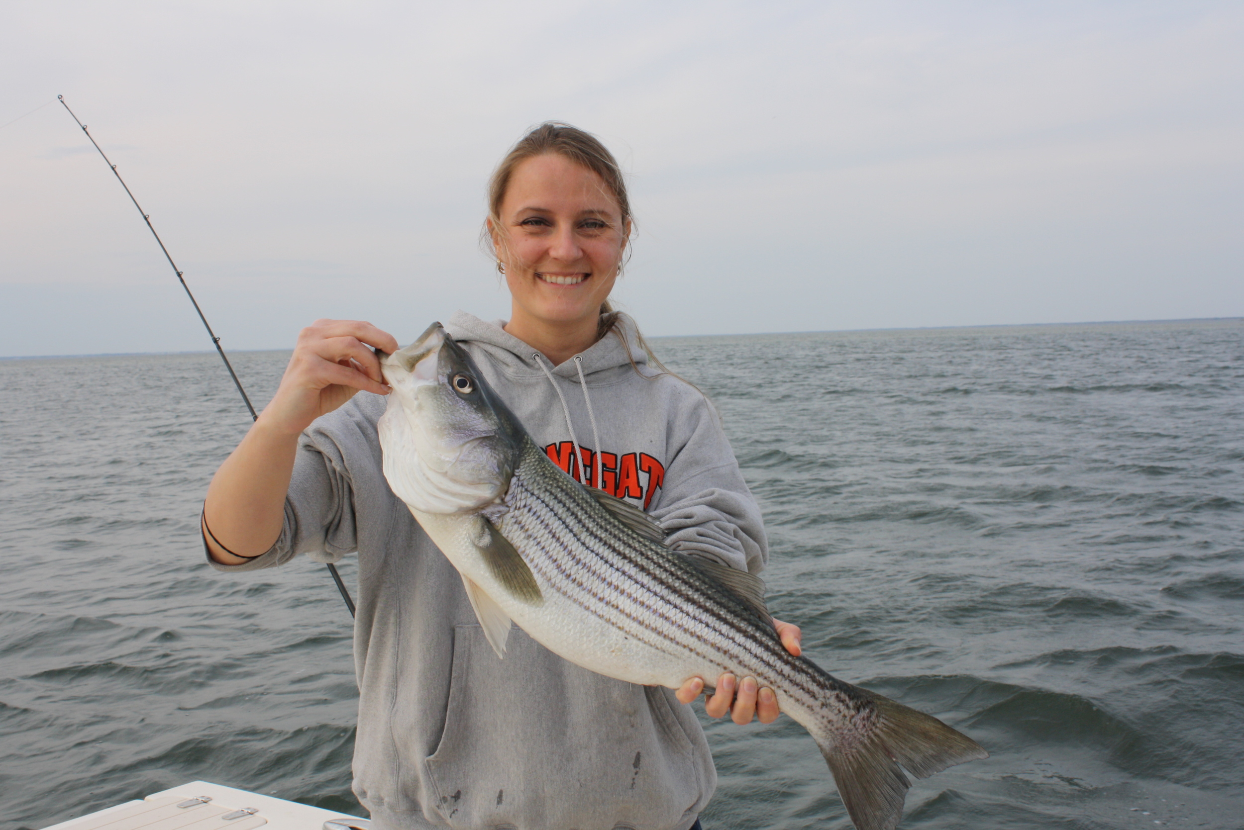 Jennifer Taylor - 1st Striped Bass (Released 26inches)