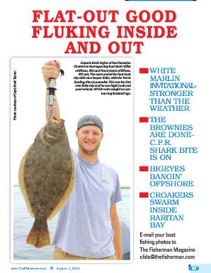 Charter client Travis Davis (Elkton,MD) holding fluke close to 8 lbs. The Fisherman magazine