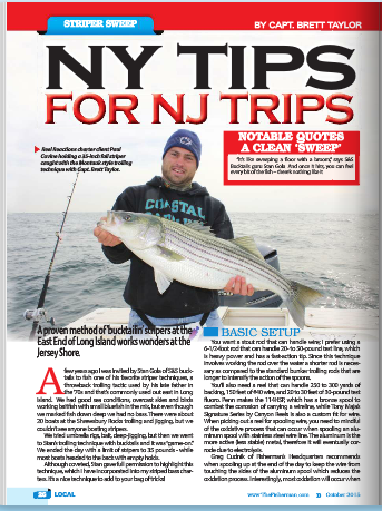 Charter Client Paul Covine of Barnegat holding a nice 35-inch bass taken on the Sweep-Method Trolling.