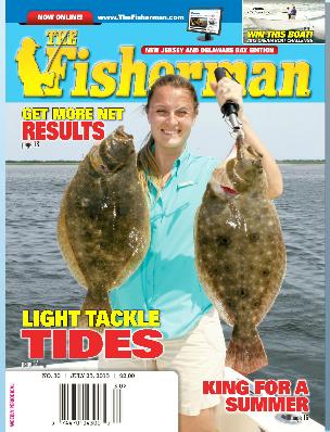 The Fisherman  magazine  cover shot: Jennifer Taylor holding two Barnegat Bay fluke over 6 lbs.