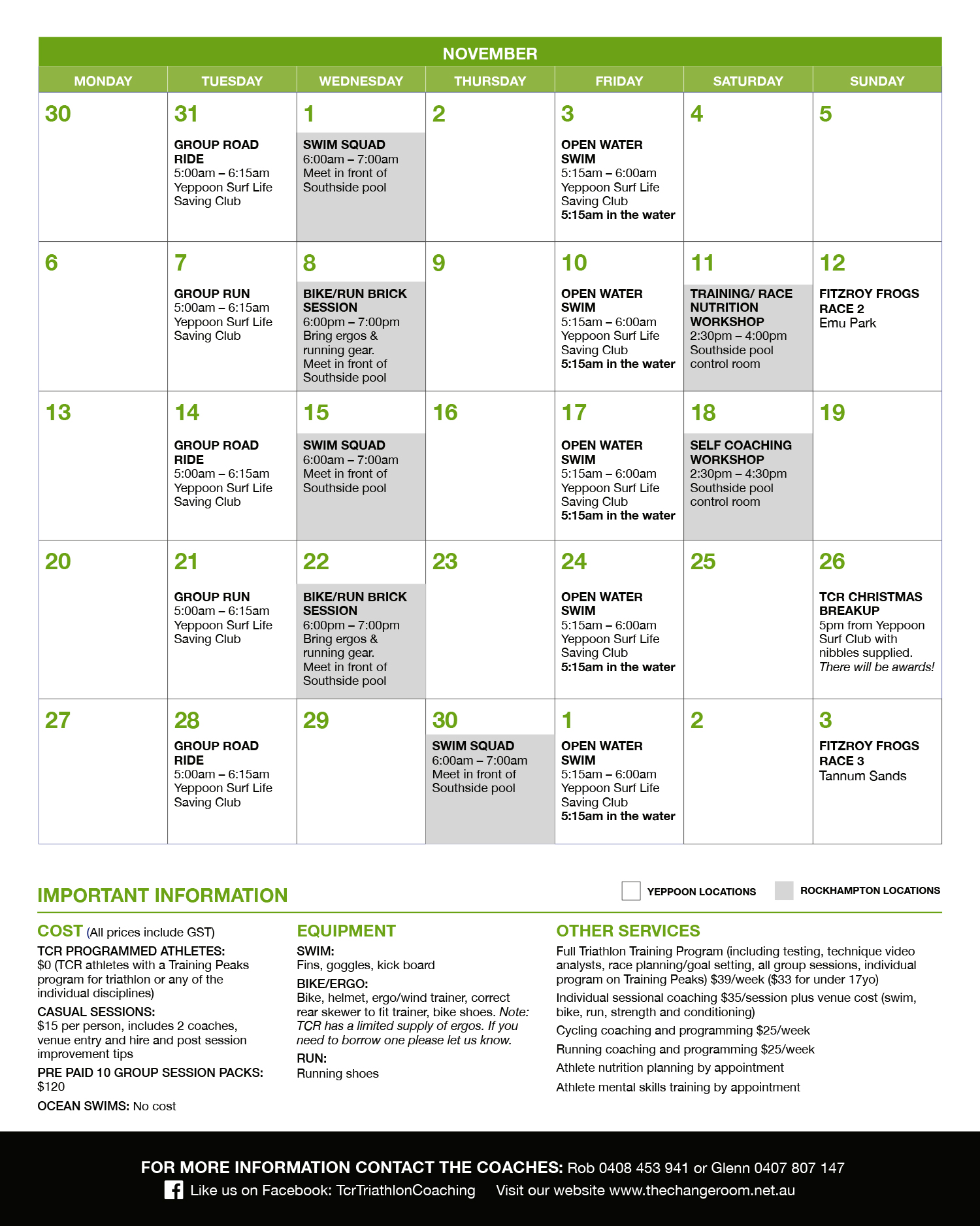 Download a pdf of the Yeppoon & Rockhampton November Training schedule here