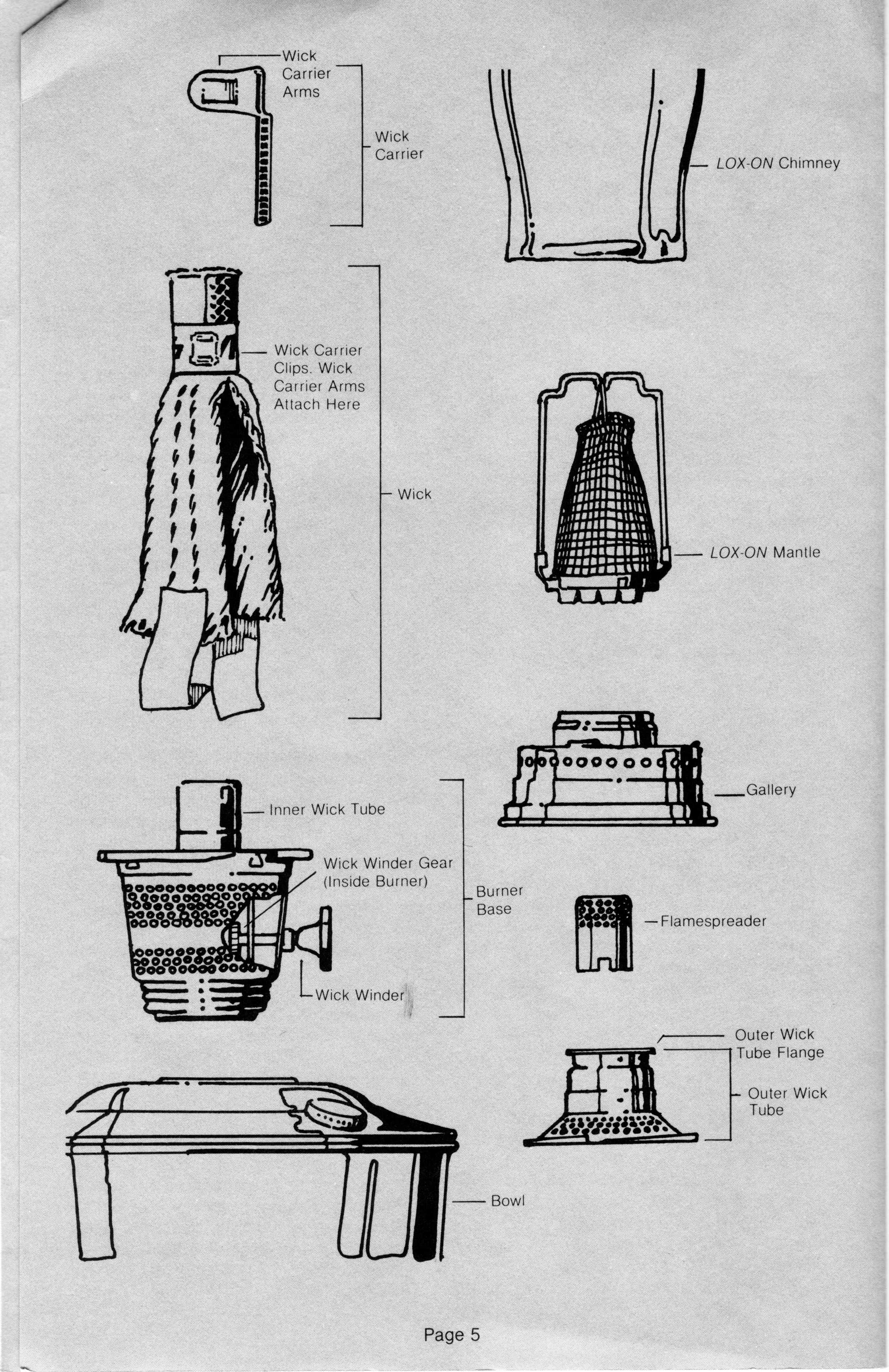 Aladdin Lamp Parts - Terminology - Pictures Specific to Model # 23