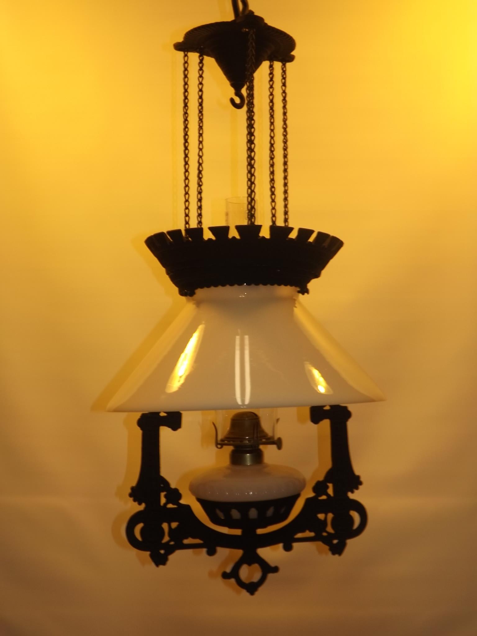 Vintage Cast Iron Hanging Lamp