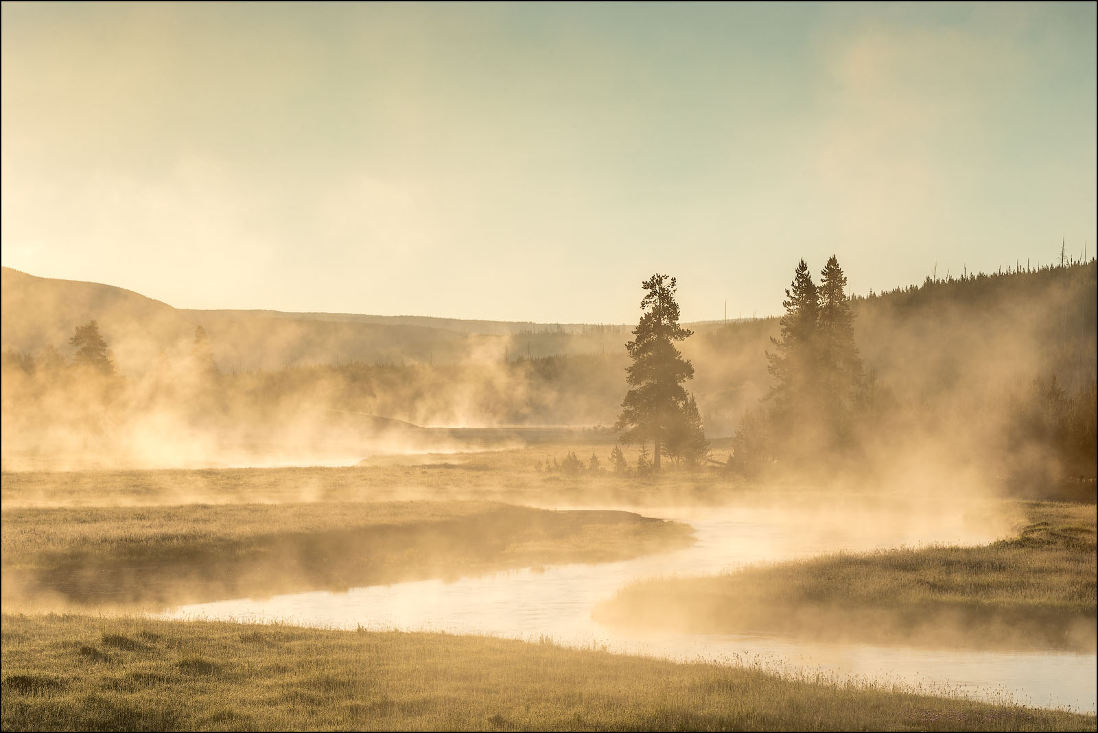 Gibbon River at sunrise, Yellowstone National Park, Wyoming.