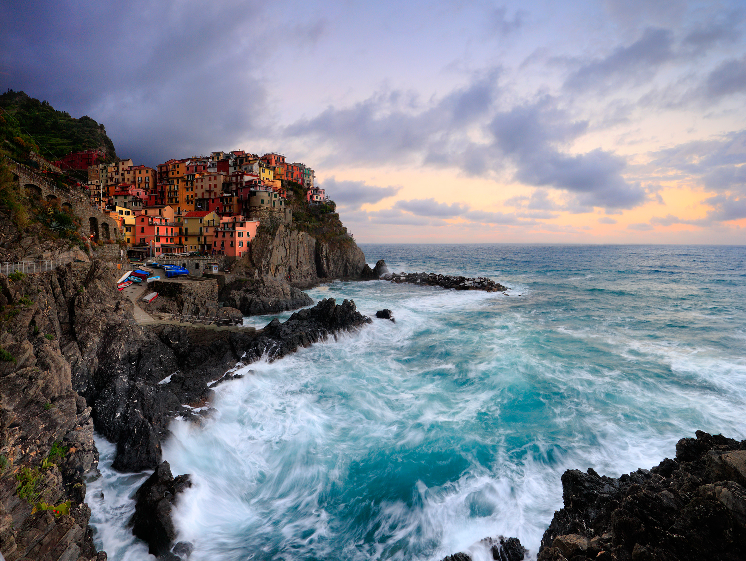 Crashing waves in Manarola - Cinque Terre, Italy