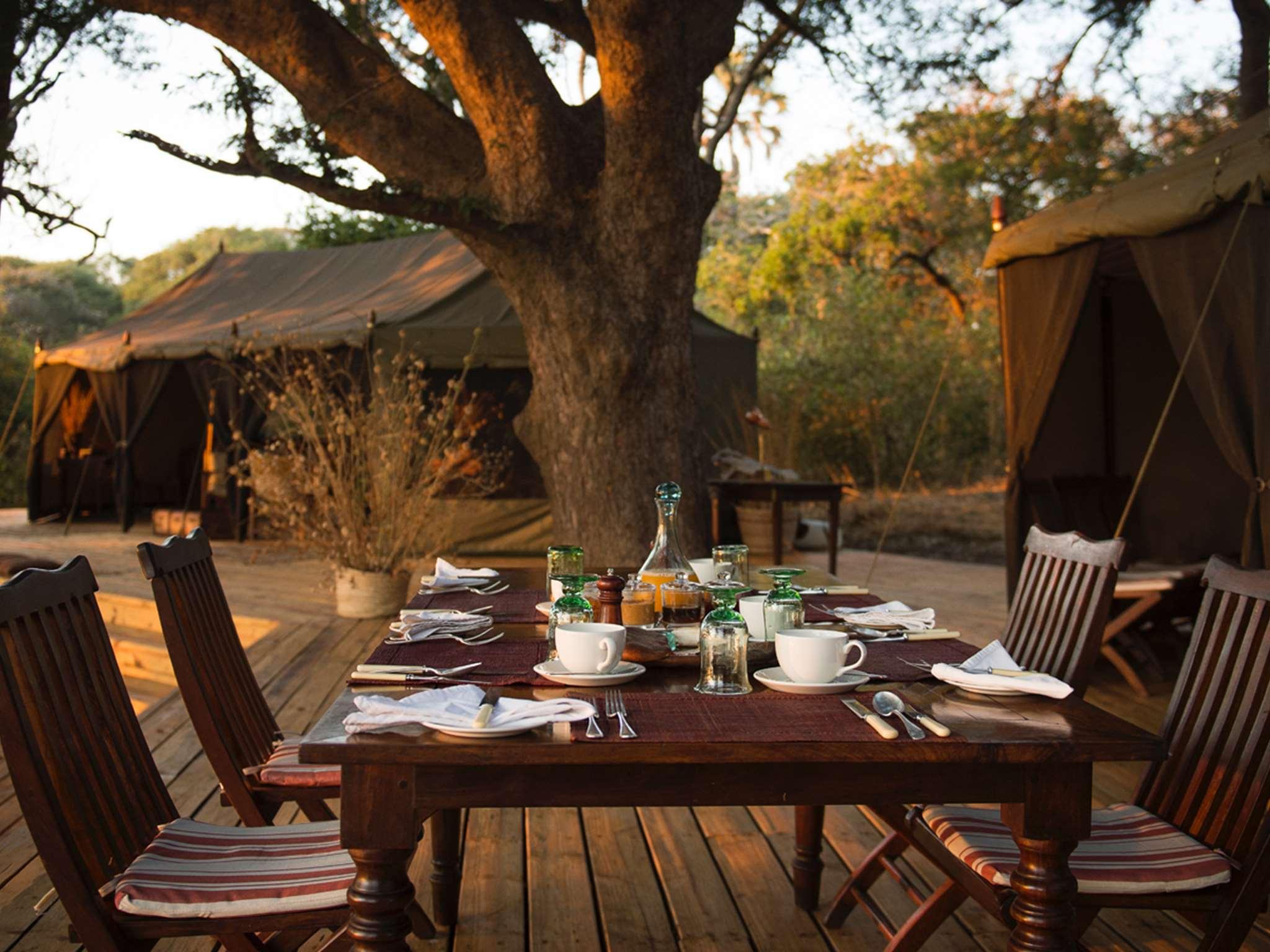 Chada Camp dining al fresco