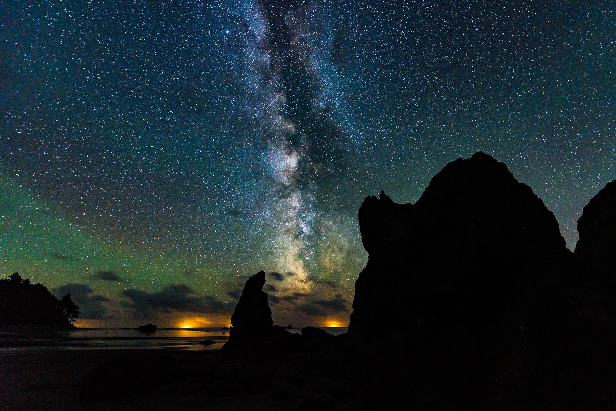 Milky Way over Ruby Beach in Olympic National Park