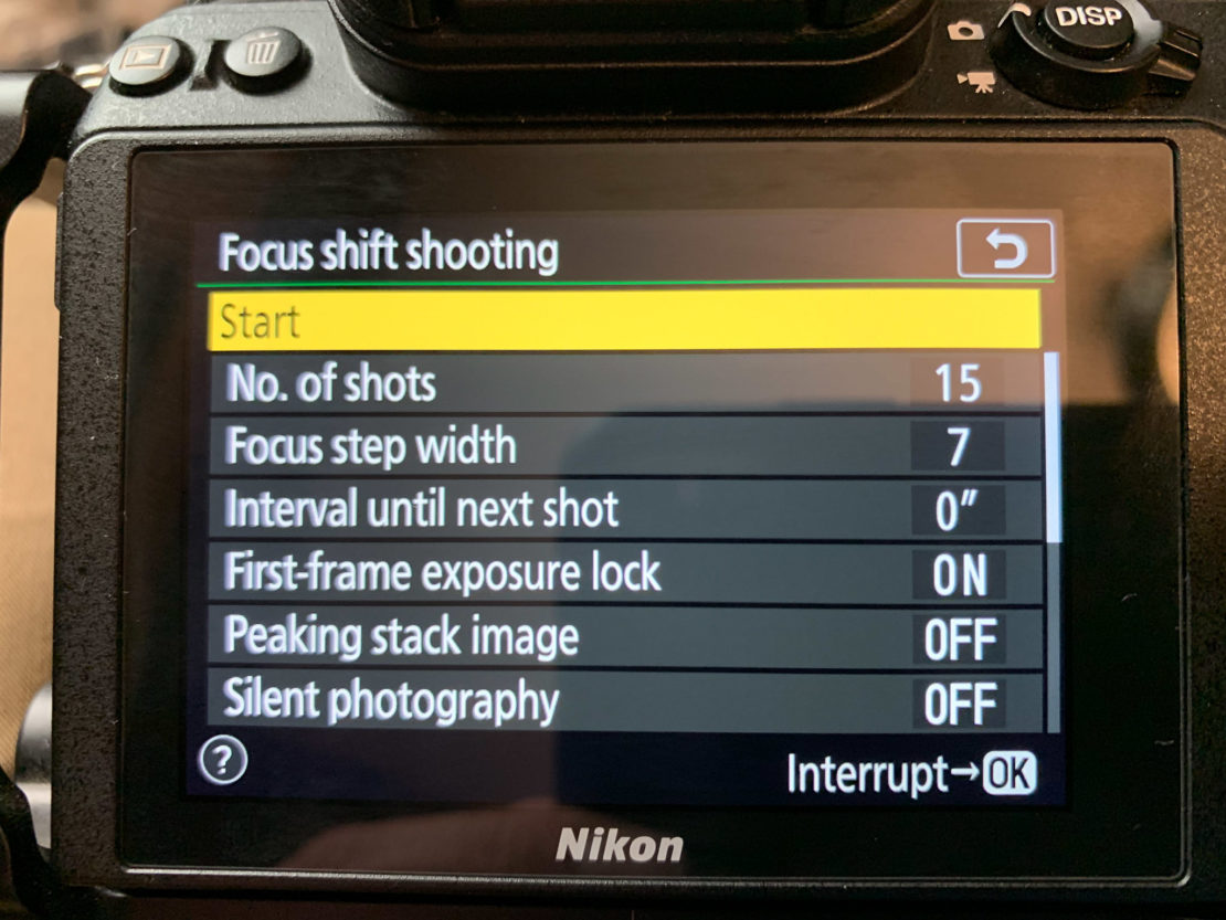 Focus shift shooting mode on Nikon Z7.