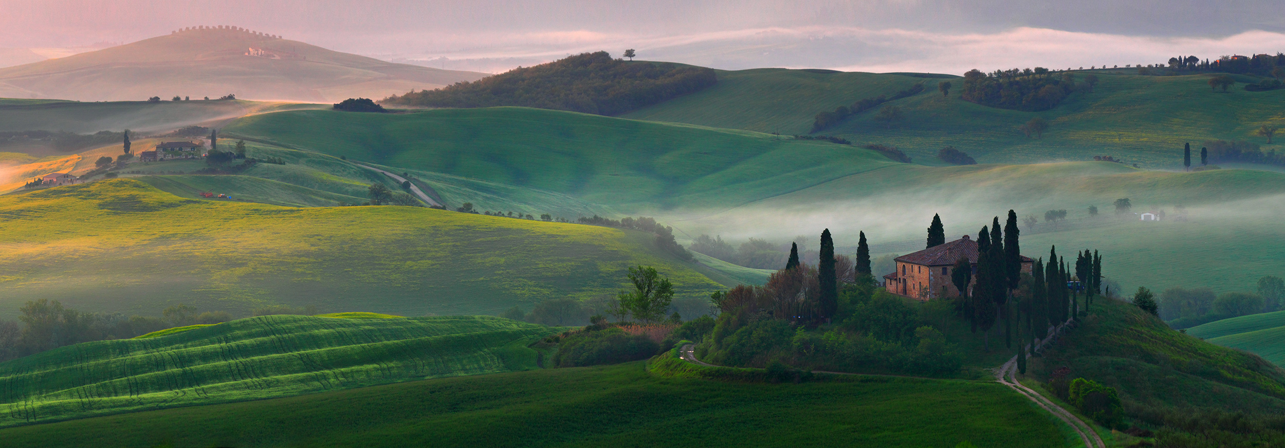 Belvedere sunrise - San Quirico d'Orcia, Tuscany, Italy
