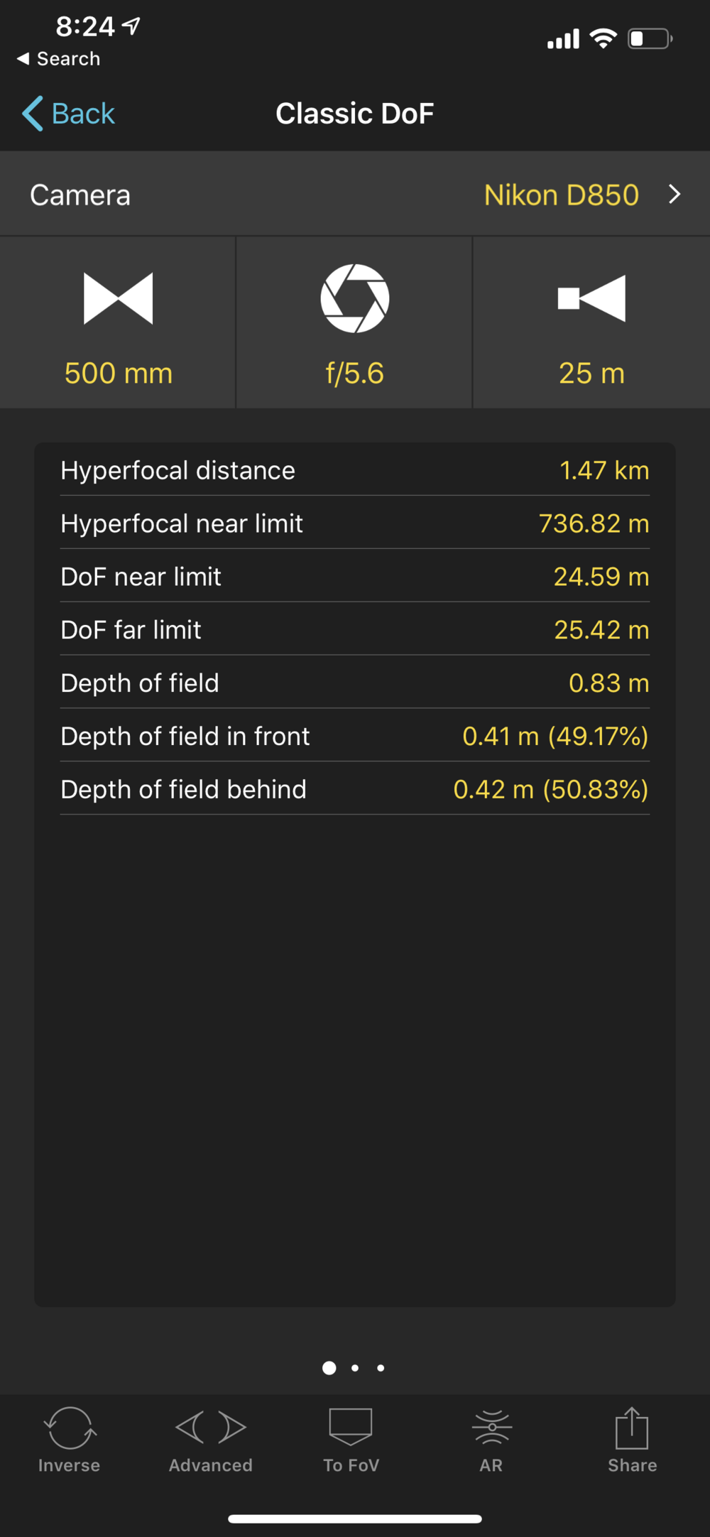 PhotoPills depth of field calculator allows you to input camera model, focal length, aperture and subject distance to calculate depth of field