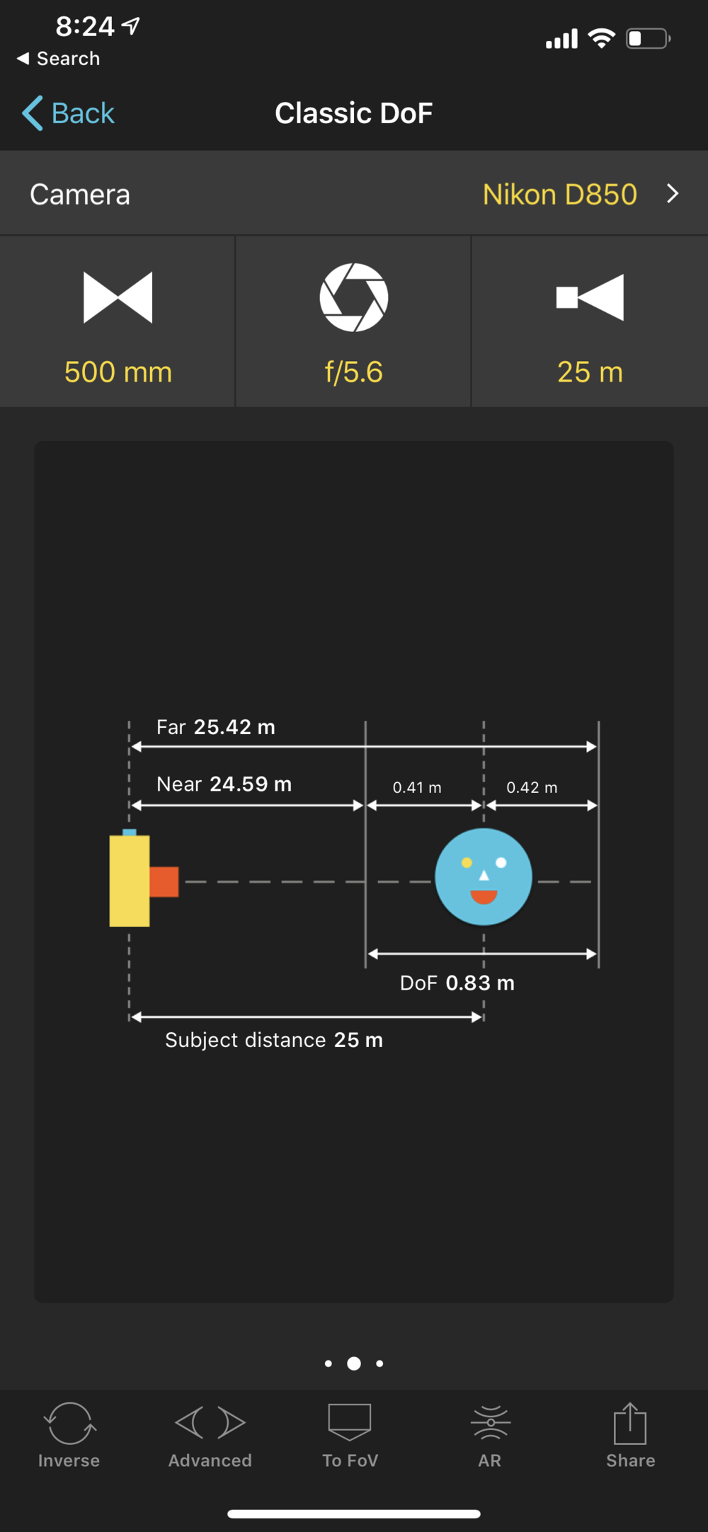 PhotoPills depth of field calculator shows both the near and far limit of depth of field based on focal length, aperture and subject distance.