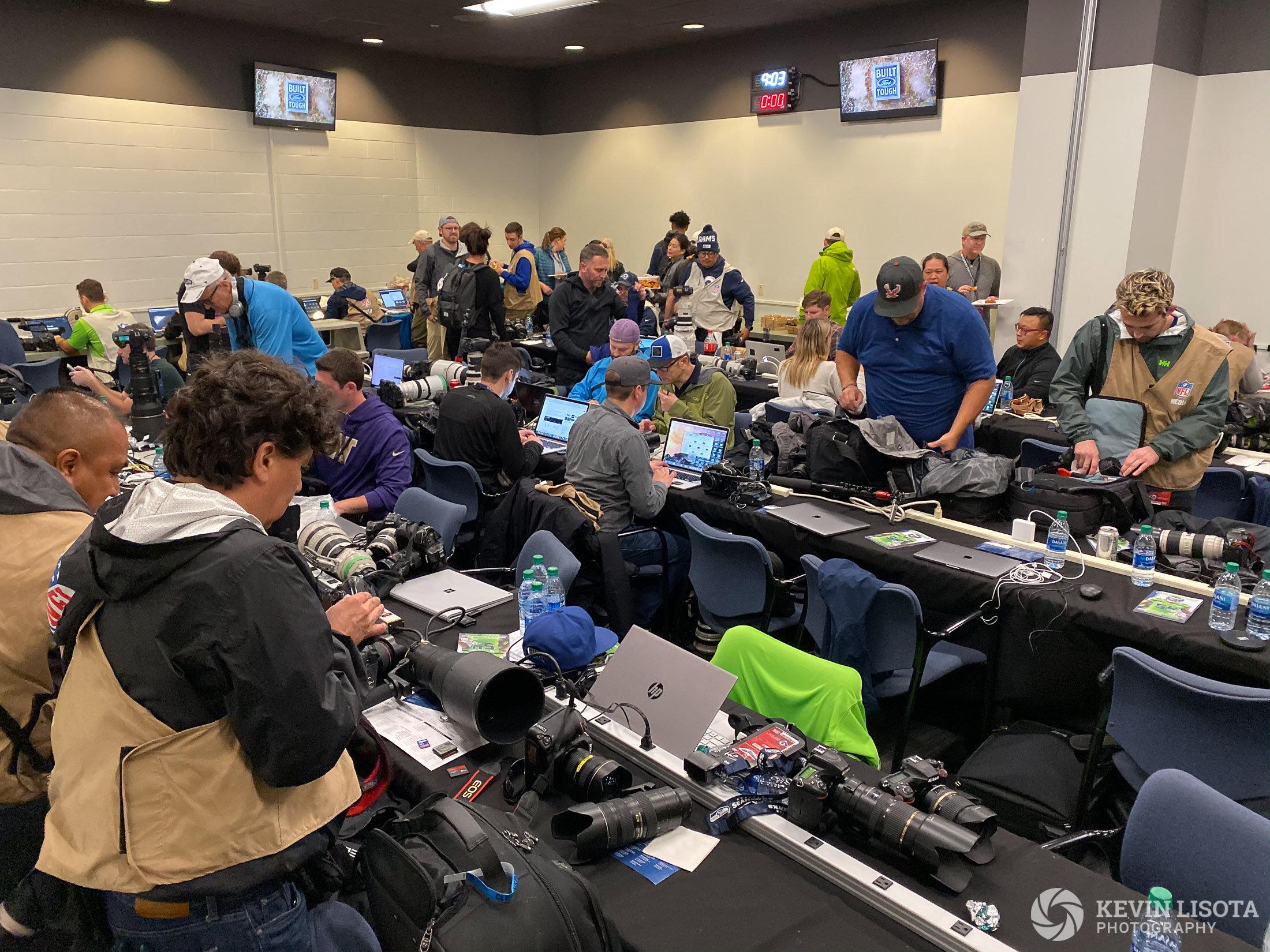 Photographers work room at Centurylink Field