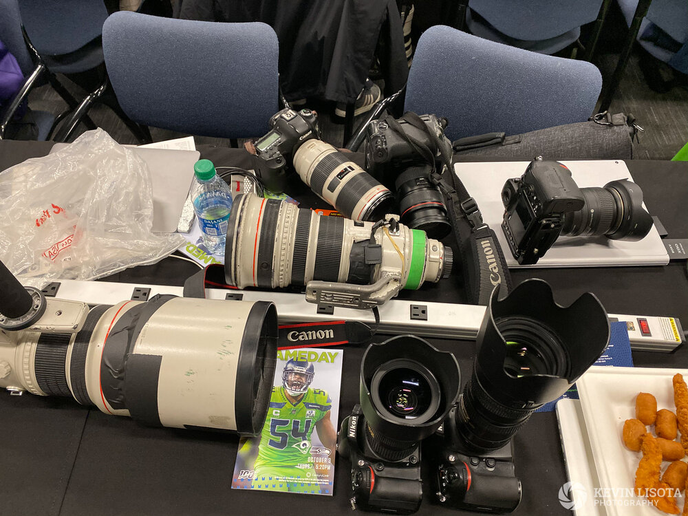 A pile of camera gear in the Photographers' workroom