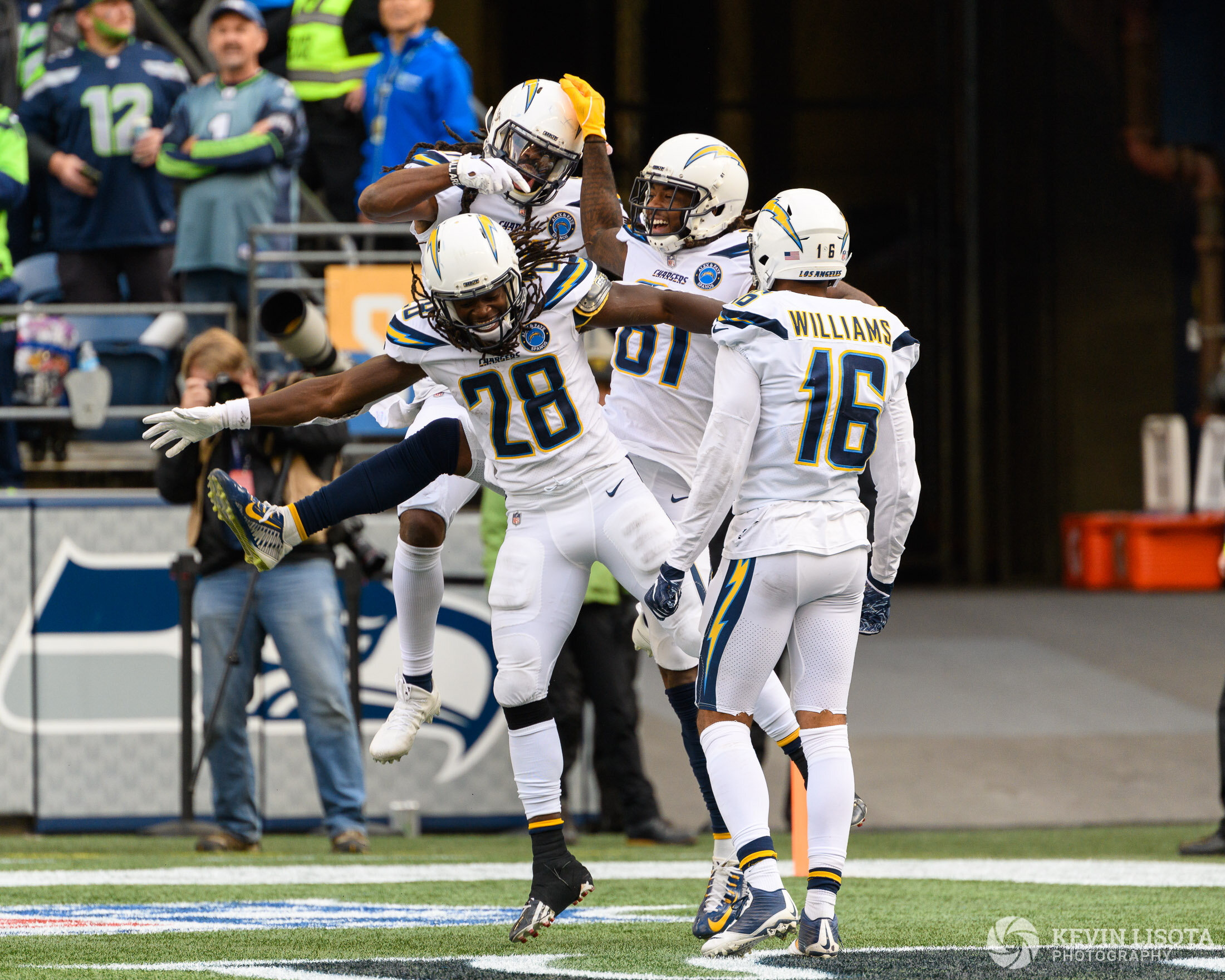 Chargers celebrate a touchdown