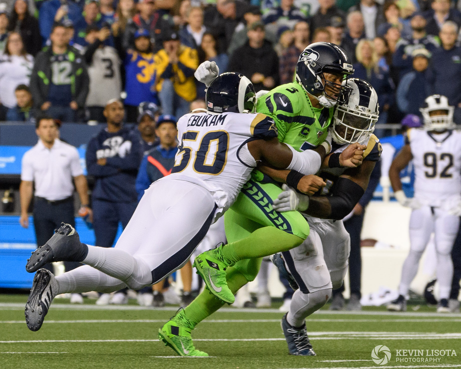 Russell Wilson gets tackled.