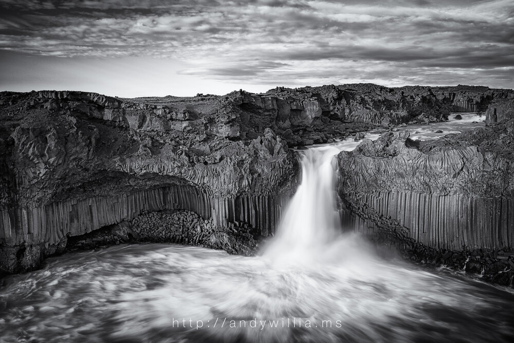 Aldeyjarfoss waterfall, North Iceland, after conversion to black and white.