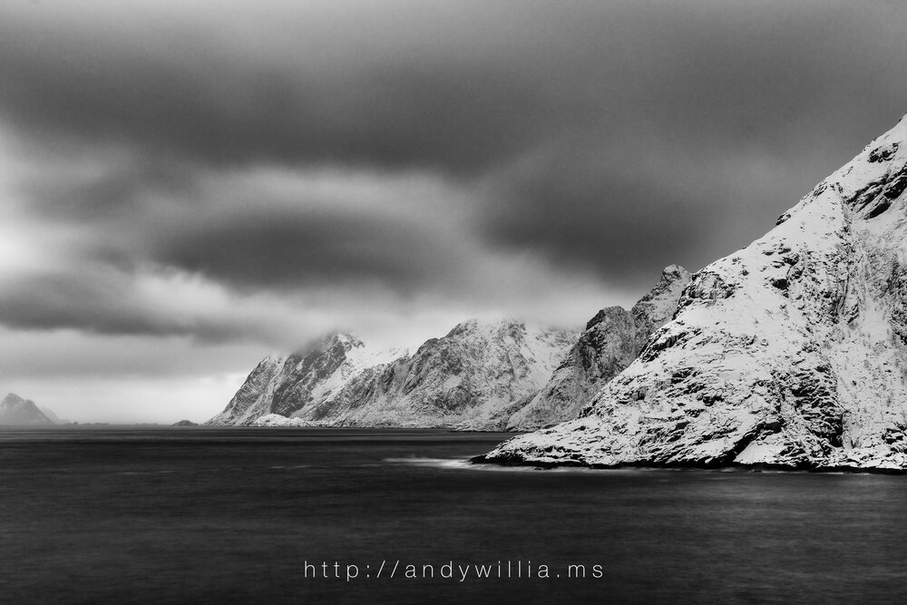 Coastal view from the village of Å, Lofoten Islands, Norway, after conversion to black and white.
