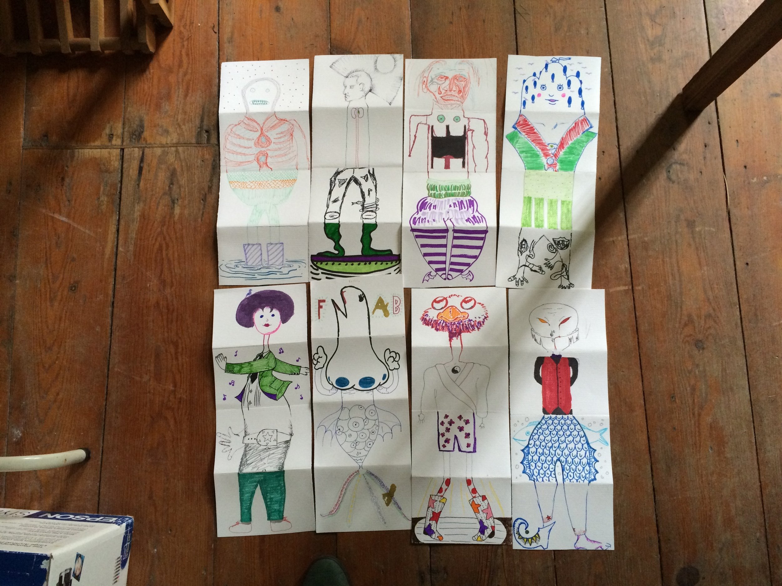 We kicked the mornings off getting into limber drawing and collaboration shape with some Exquisite Corpse exercises. Serious stuff.  2回のワークショップでは、朝一番のエクササイズとして「 優美な死骸 」をやることにしました。これでみんなちょっと緊張がとれて、頭と手が回りだすかな…と思ってやりましたが、とても上手くいきました。