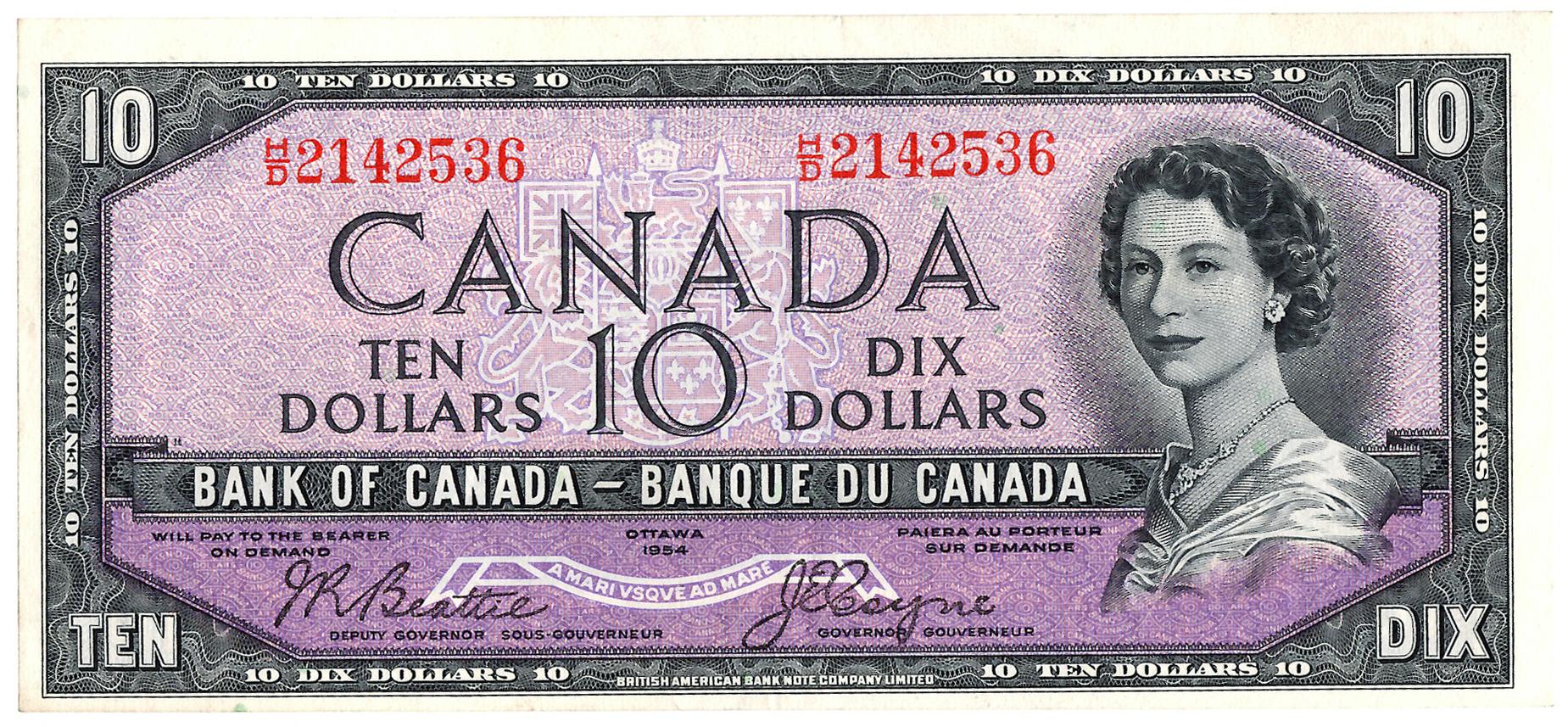 """Canada - 1954 """"Devil's Head"""" $10 Note"""