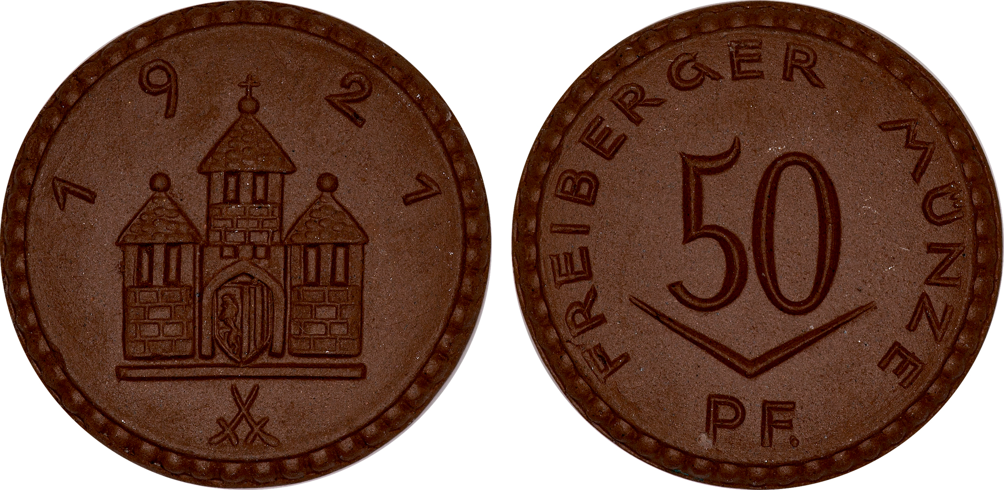 #5  Diameter: 24.5mm / Weight: 3.4g  Germany (Freiberg) - 1921 50 Pfennig