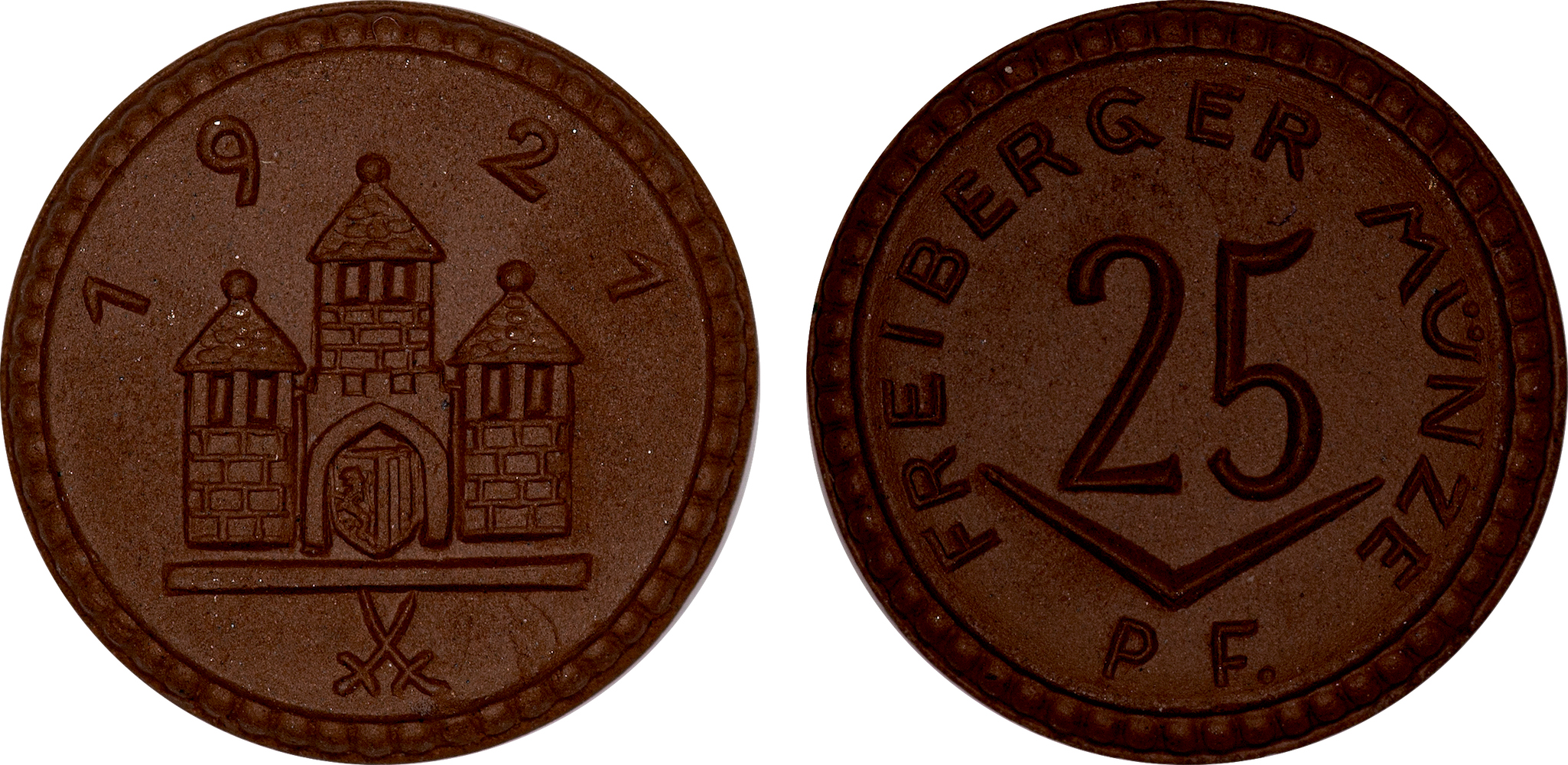 #6  Diameter: 21mm / Weight: 2.4g  Germany (Freiberg) - 1921 25 Pfennig