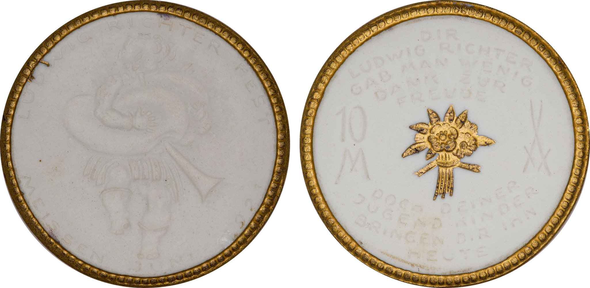 #8  Diameter: 39.5mm / Weight: 9.4g  Germany (Meissen) 1921 Porcelain 10 Mark Gilt Medal  Scheuch #381q  Mintage: 1,001 - 3,000
